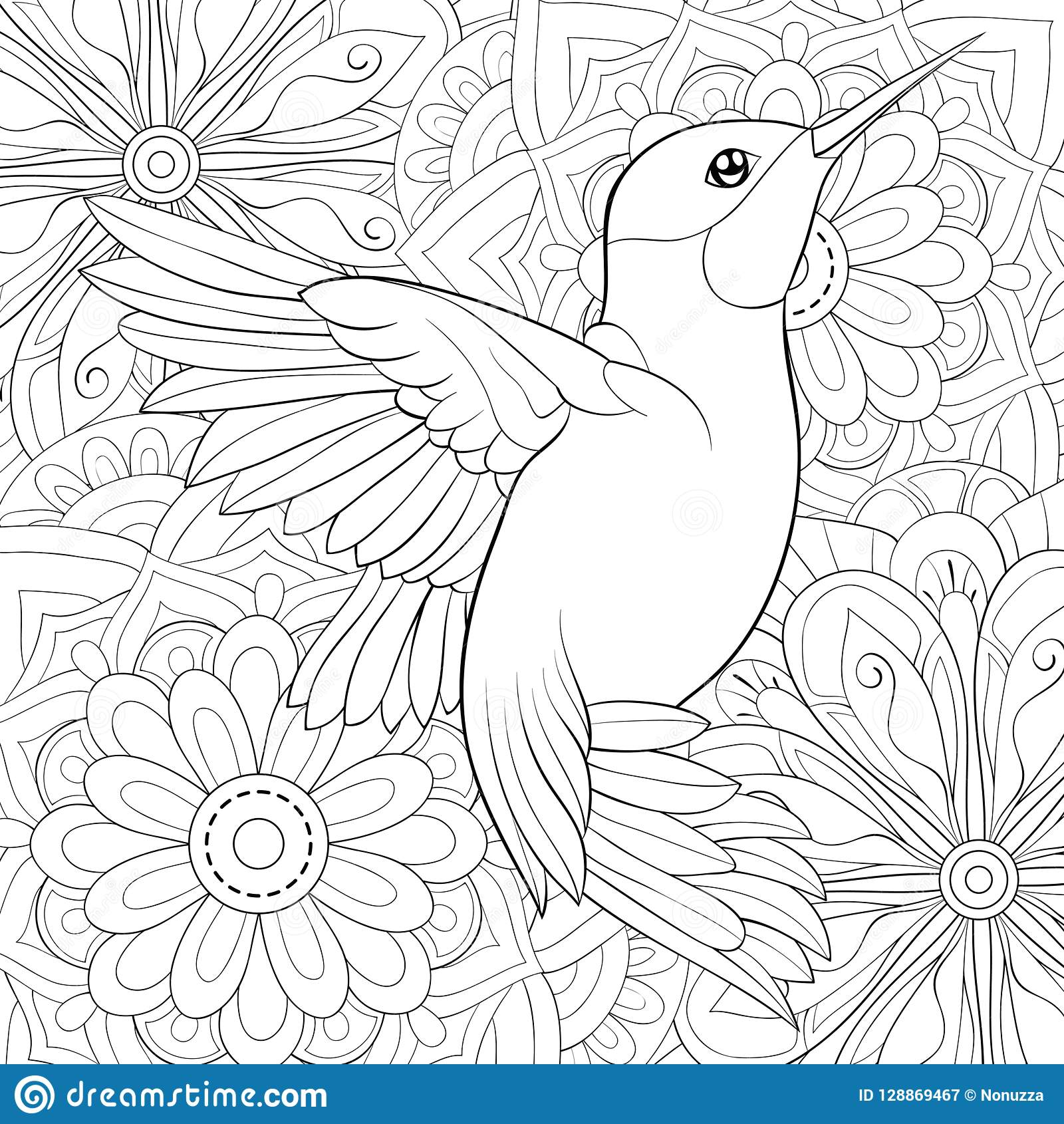 Adult Coloring Book Page A Cute Bird For Relaxing Zen Art Style Illustration Stock Vector Illustration Of Adults Brunch 128869467
