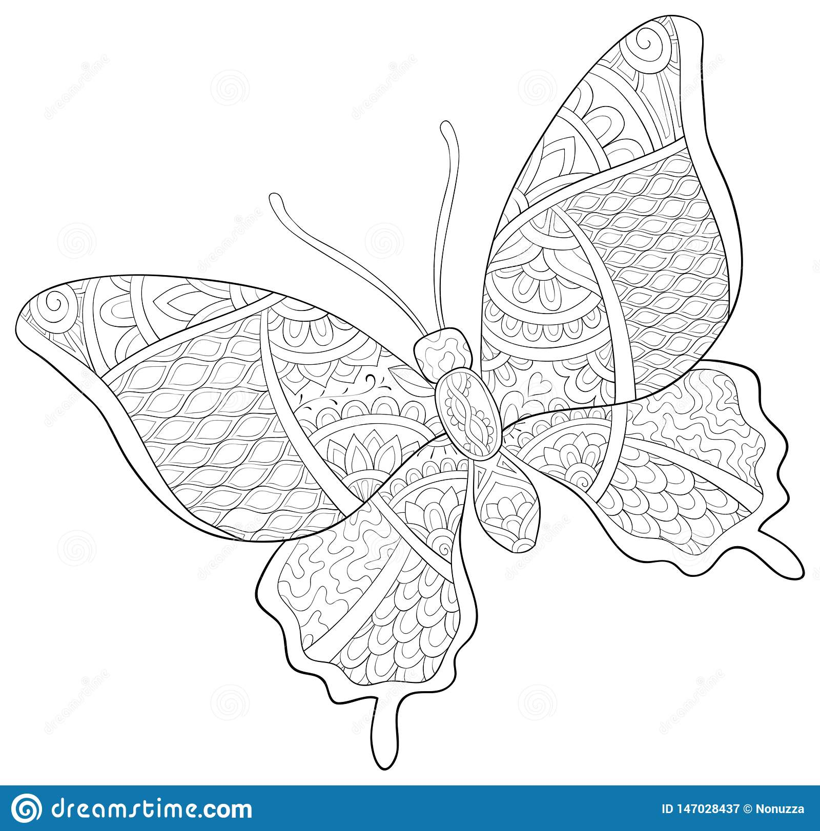 Adult Coloring Book Page A Cute Butterfly With Ornaments Image For Relaxing Zen Art Style Illustration Stock Vector Illustration Of Adult Doodle 147028437