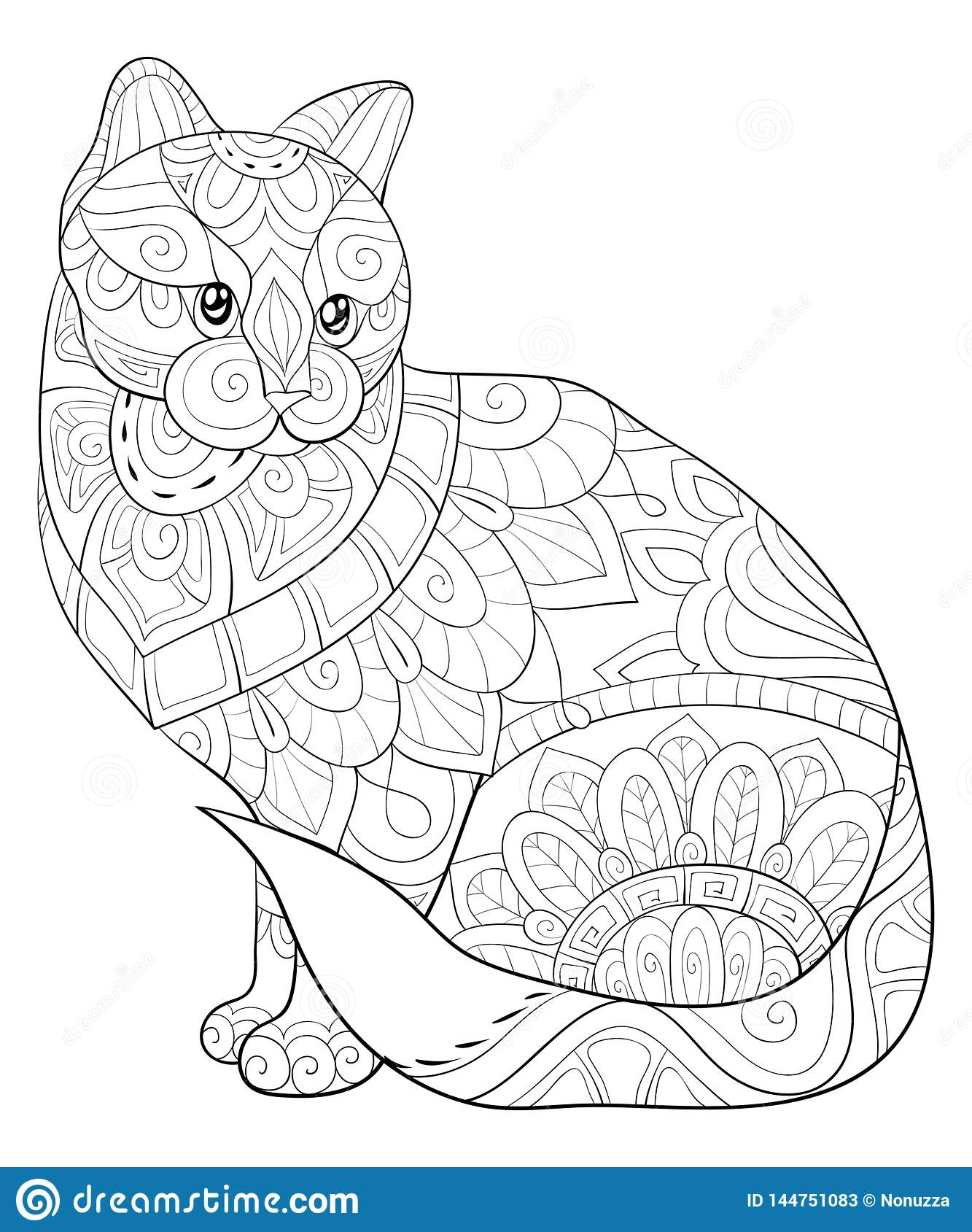Adult Coloring Book Page A Cute Cat With Ornaments Image For Relaxing Zen Art Style Illustration Stock Vector Illustration Of Elements Mandalas 144751083