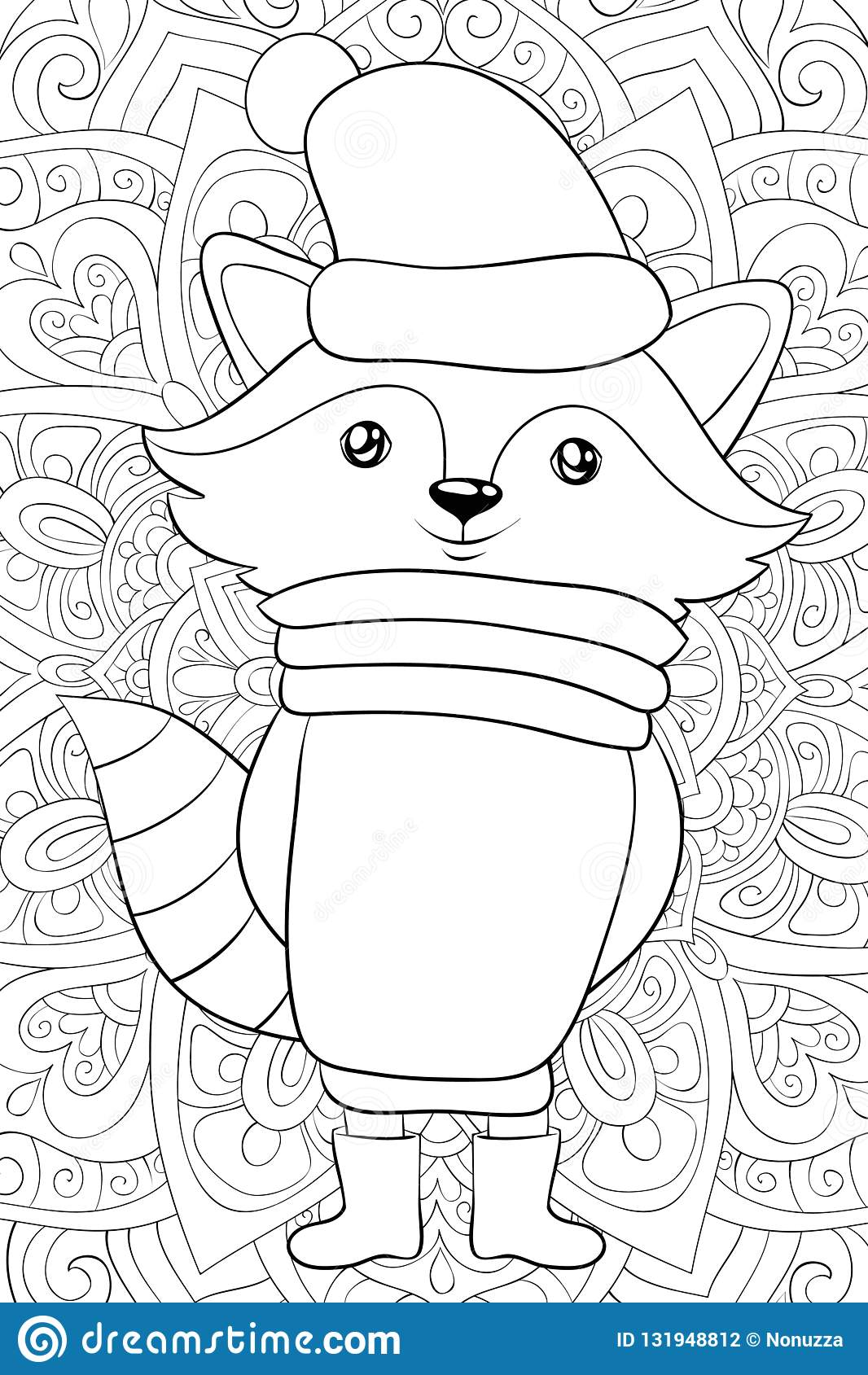 Adult Coloring Book Page A Cute Christmas Raccoon Image For Relaxing Activity Zen Art Style Illustration For Print Stock Vector Illustration Of Cartoon Christmas 131948812