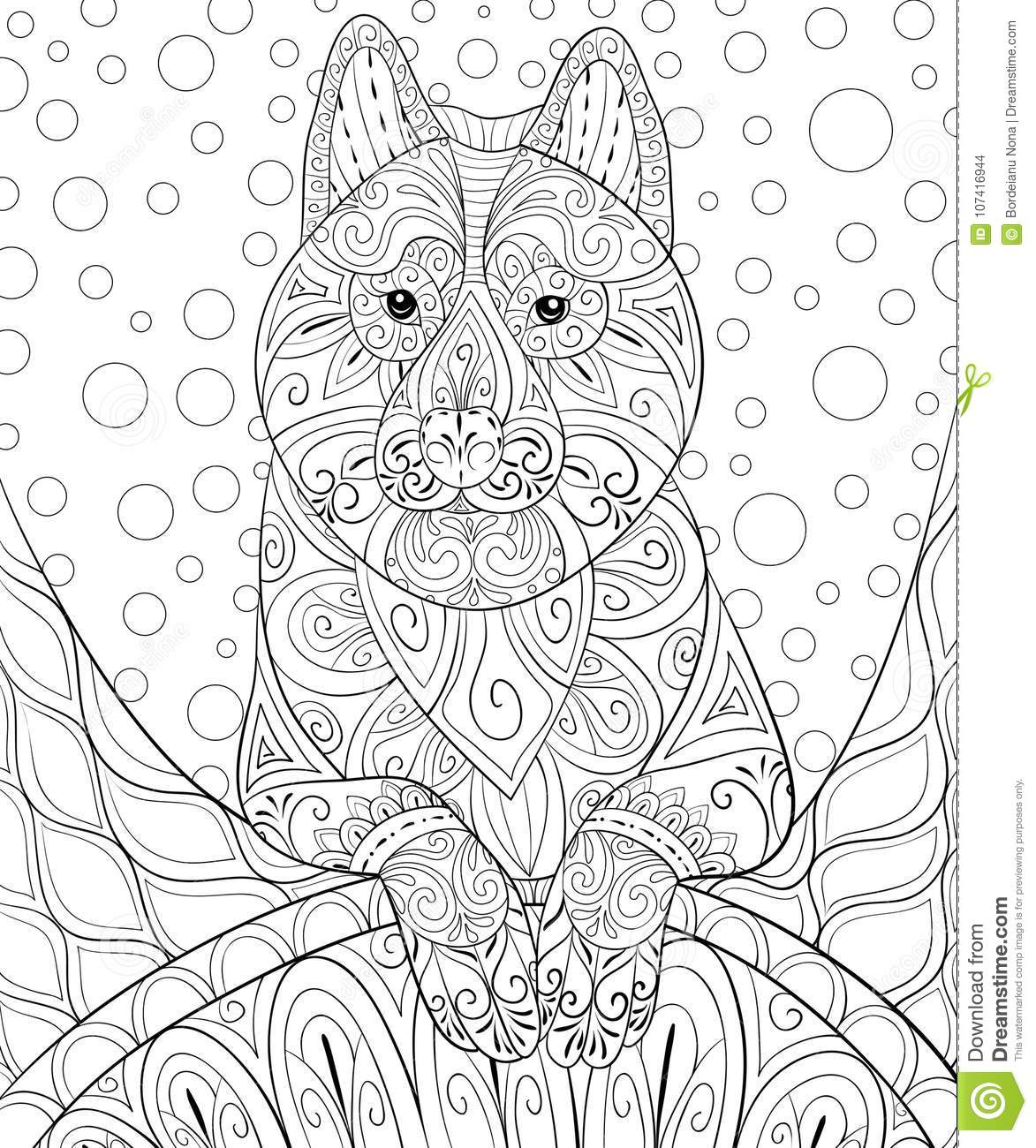 Adult Coloring Bookpage A Cute Dog On The Abstract Background For RelaxingZen Art Style Illustration Stock Vector