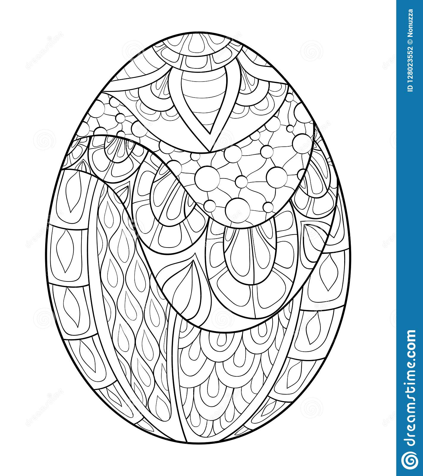 Adult Coloring Book,page A Cute Easter Egg Image For Relaxing. Stock ...