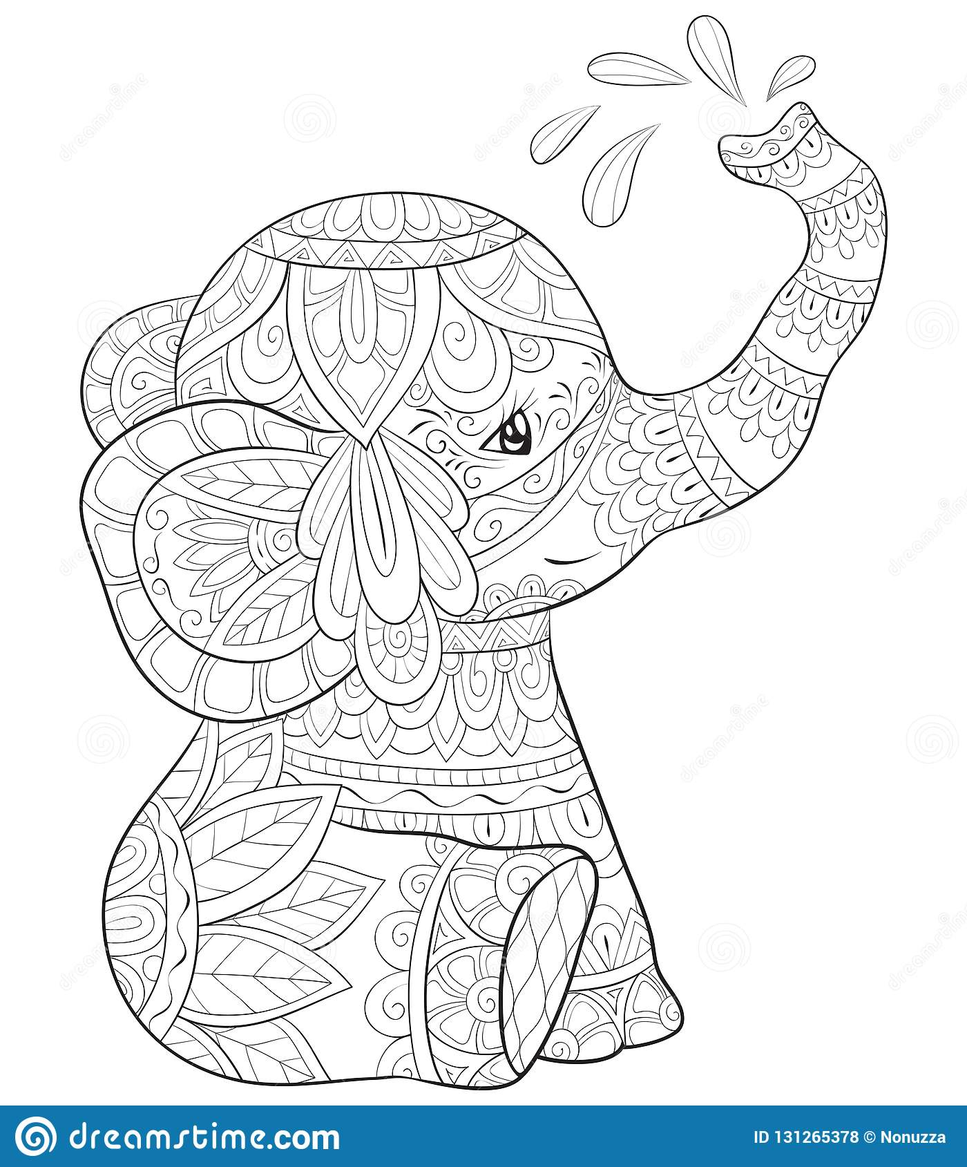 Adult Coloring Book,page A Cute Elephant Image For ...
