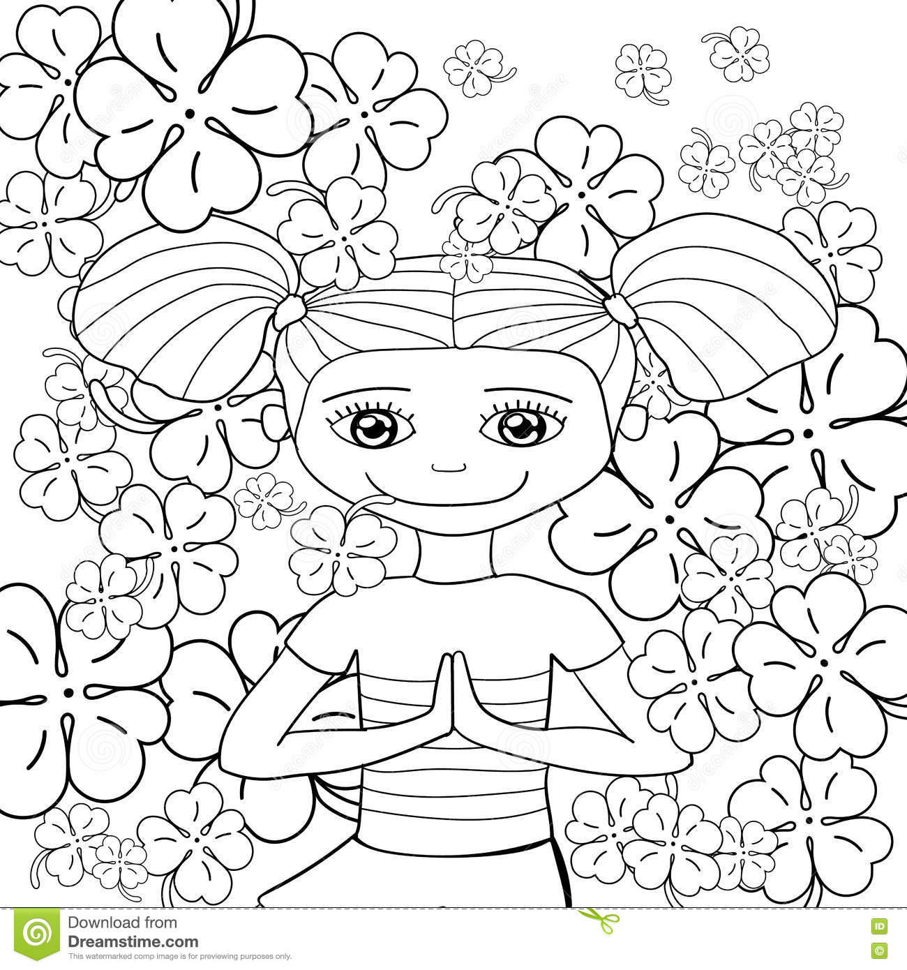 Adult Coloring Book Page Cute Girl In Garden Vector