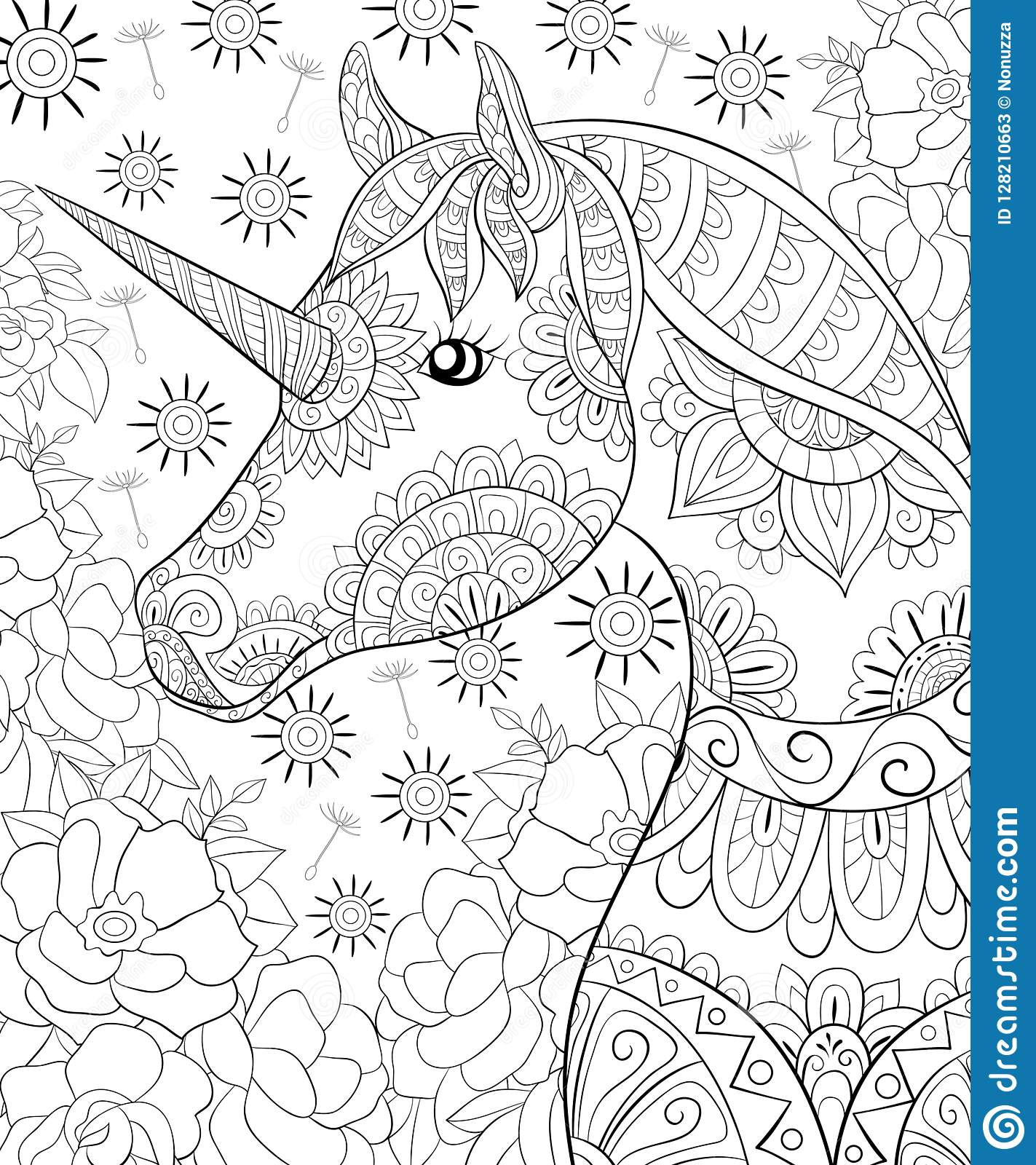 A cute horse with zen ornaments image for adults line art style illustration for print poster design