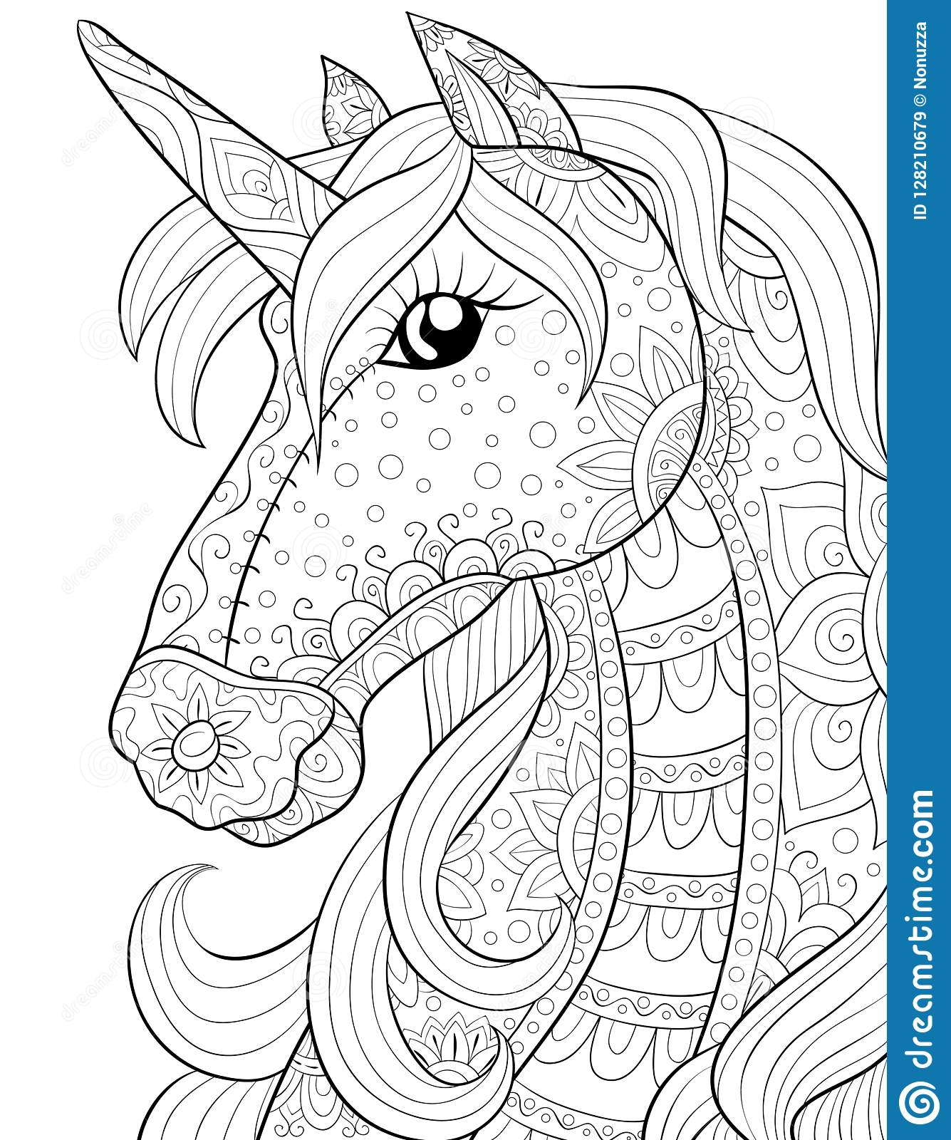 Adult Coloring Book,page A Cute Horse,unicorn Image For Relaxing ...