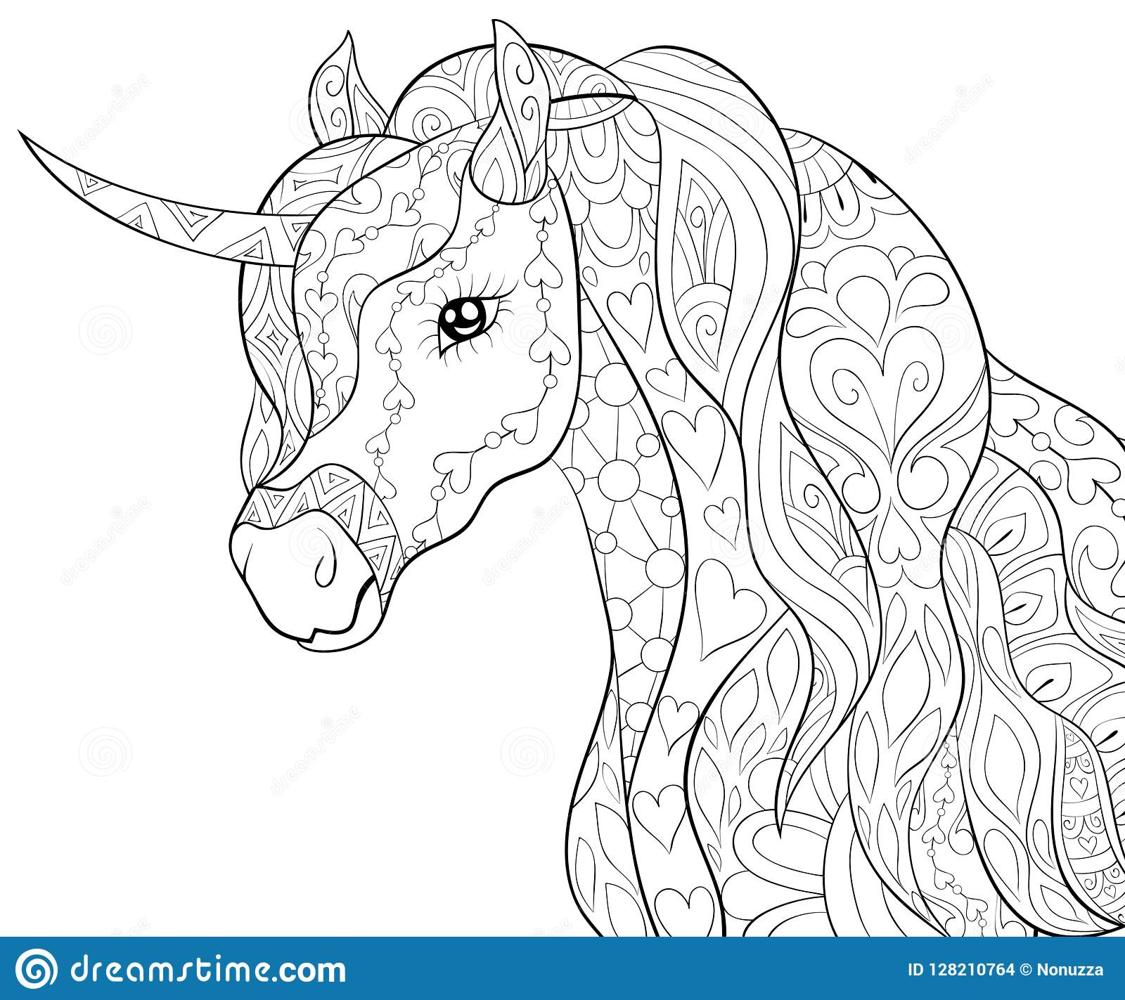 Adult Coloring Book Page A Cute Horse Unicorn Image For