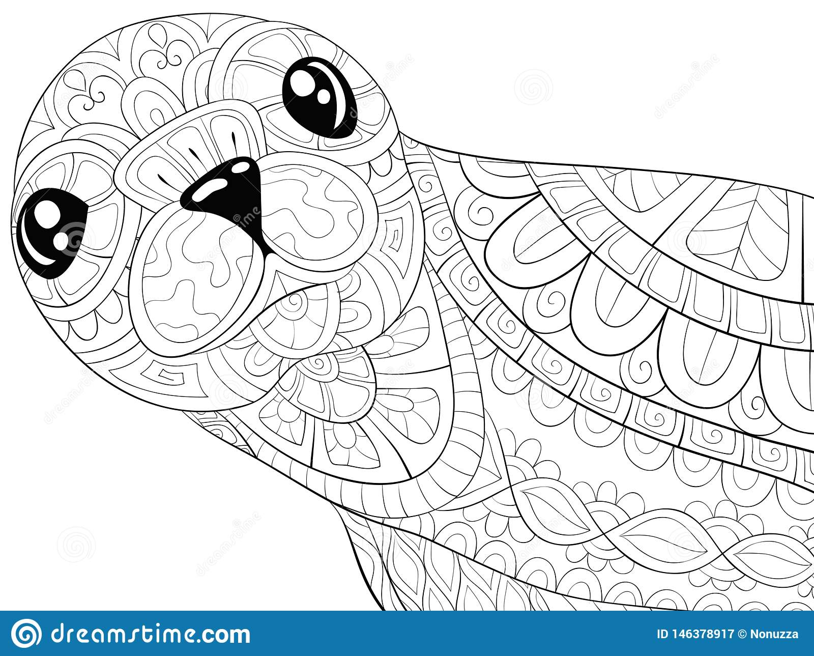 Adult Coloring Book Page A Cute Seal With Ornaments Image For Relaxing Zen Art Style Illustration Stock Vector Illustration Of Lamb Floral 146378917