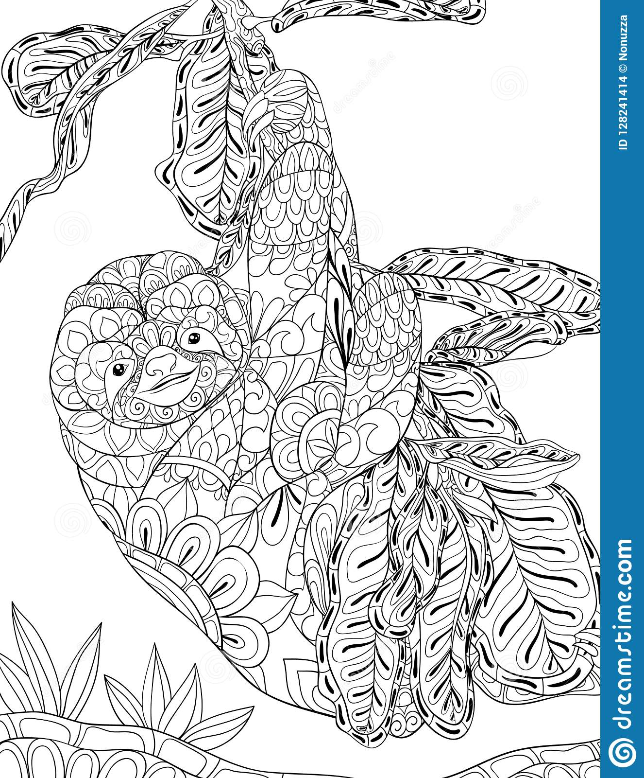 Adult Coloring Bookpage A Cute Sloth On The Brunch Image For