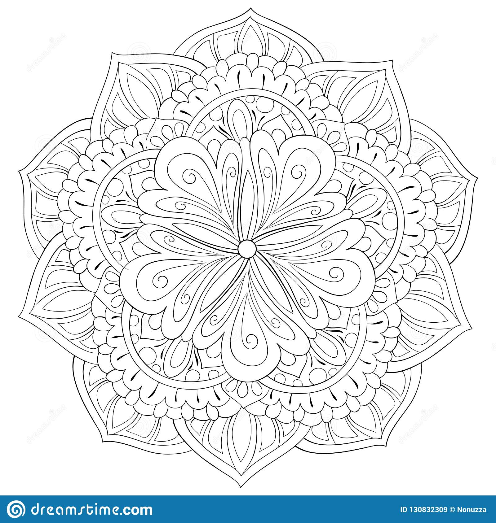 Adult Coloring Book,page A Cute Zen Mandala Image For ...