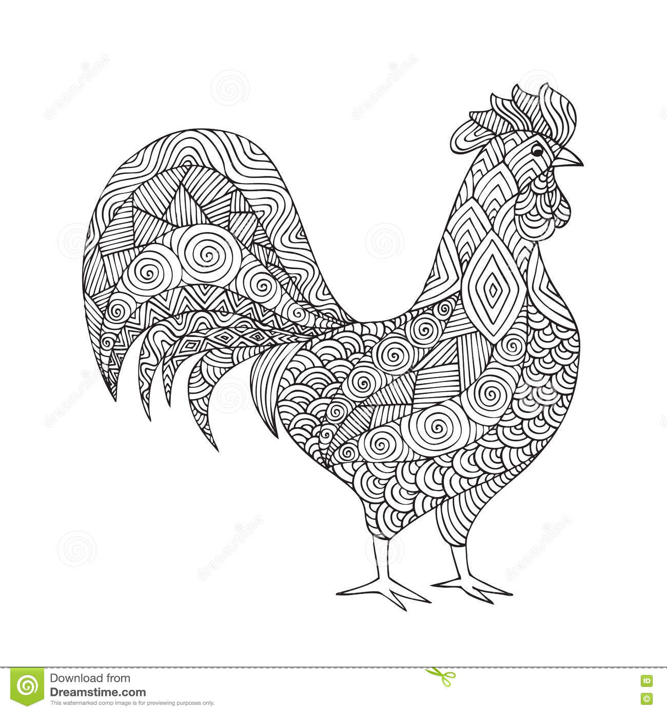 Free coloring pages rooster - Adult Coloring Book Page Design Royalty Free Stock Image
