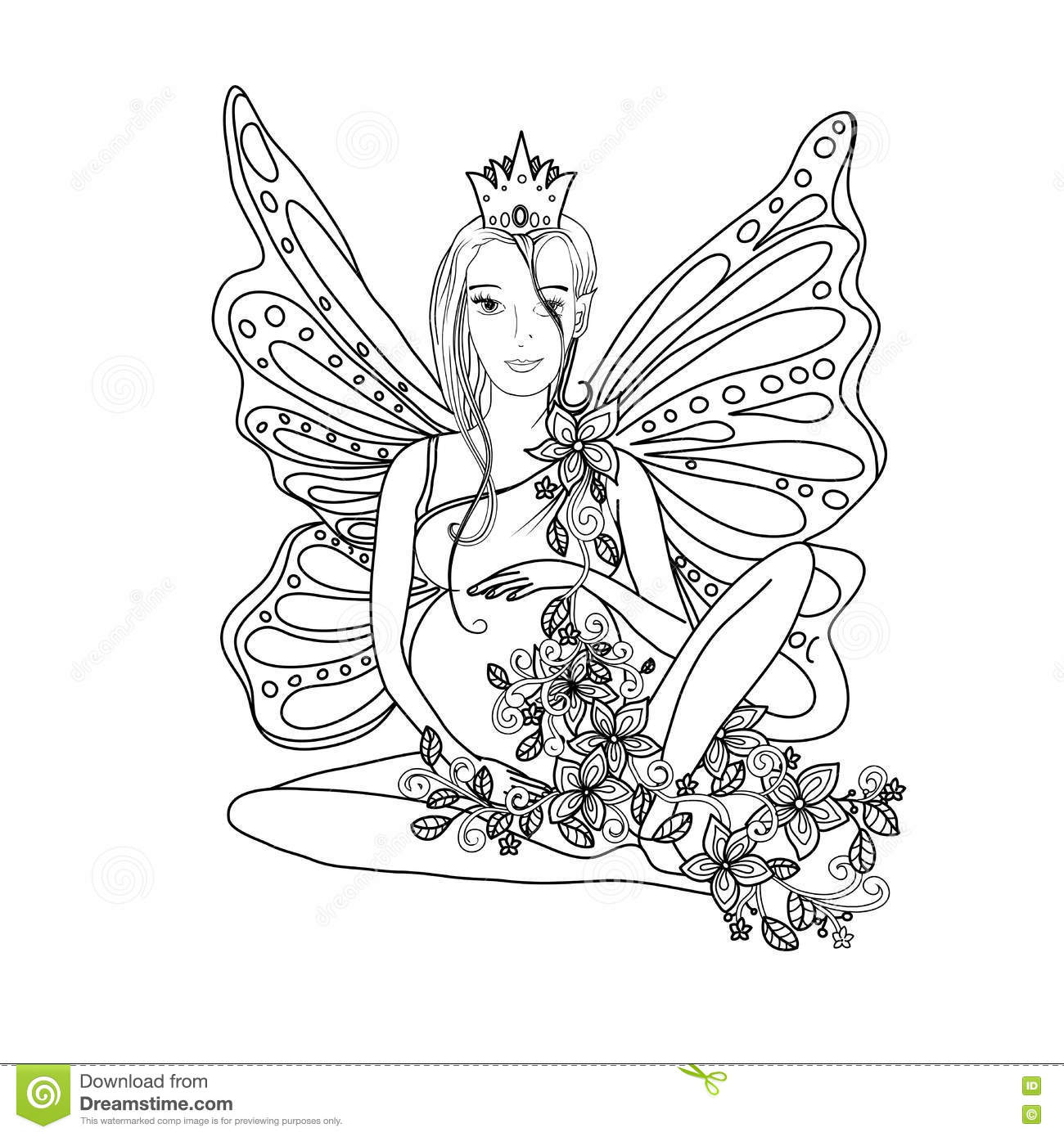 Adult Coloring Book Page With Fairy Pregnant Lady.Pregnancy In ...