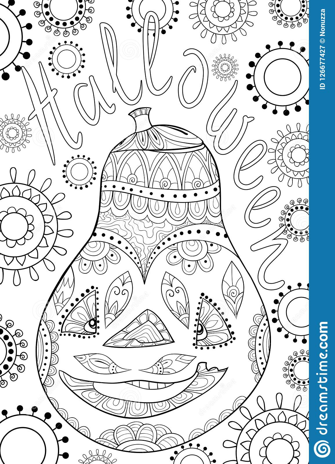 Adult Coloring Book Page A Halloween Theme Illustration For Relaxing