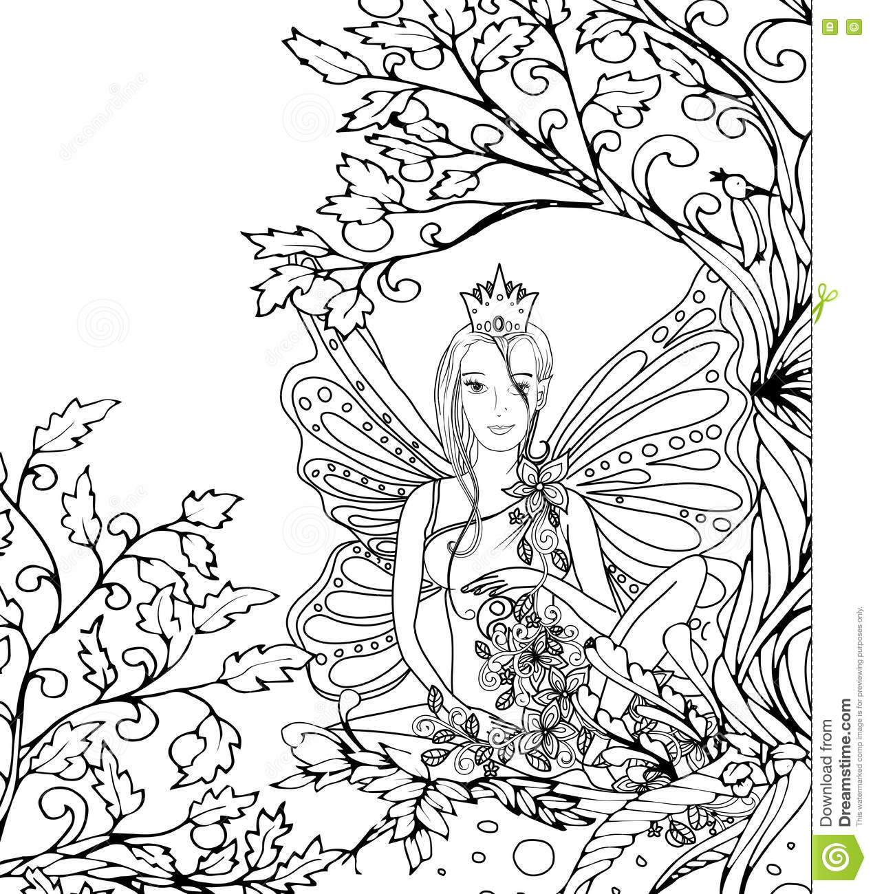 Butterflies And Fairies Coloring Pages