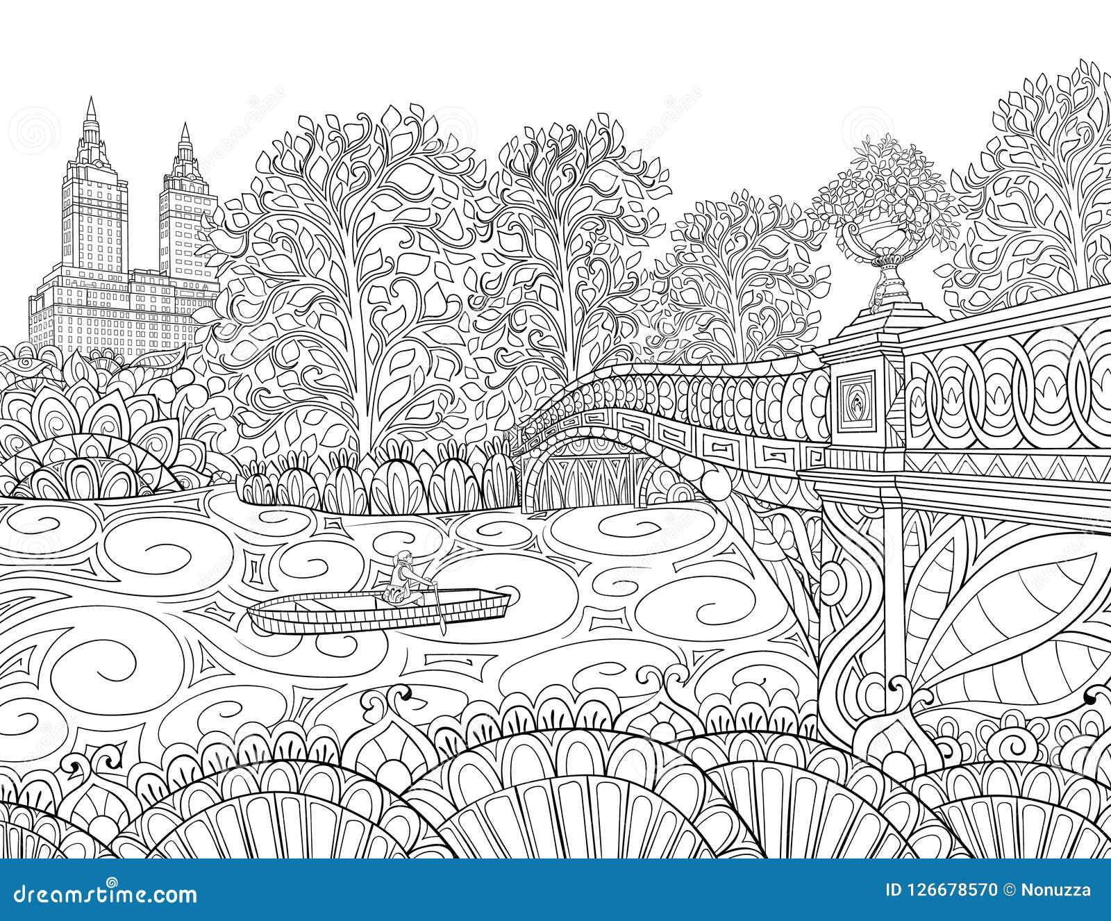 adult coloring book page landscape image relaxing landcsape trees road image relaxing line art style