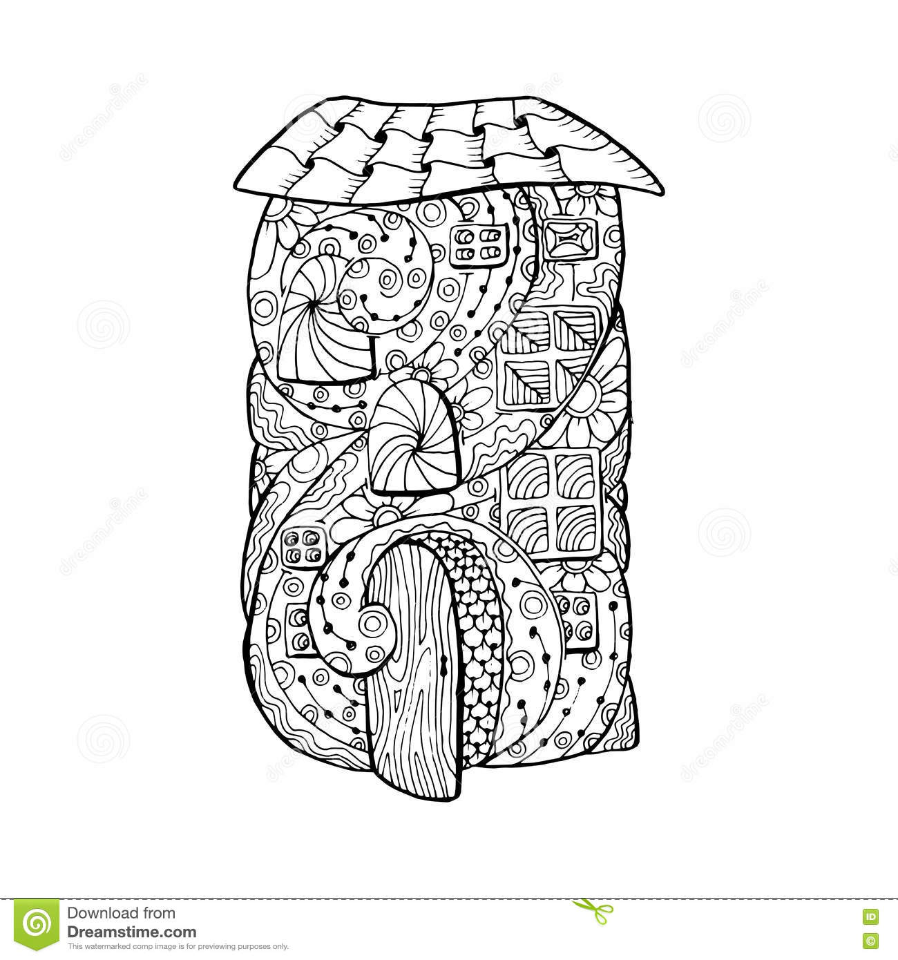adult coloring book page mono color black ink illustration vector art fairy house with open door