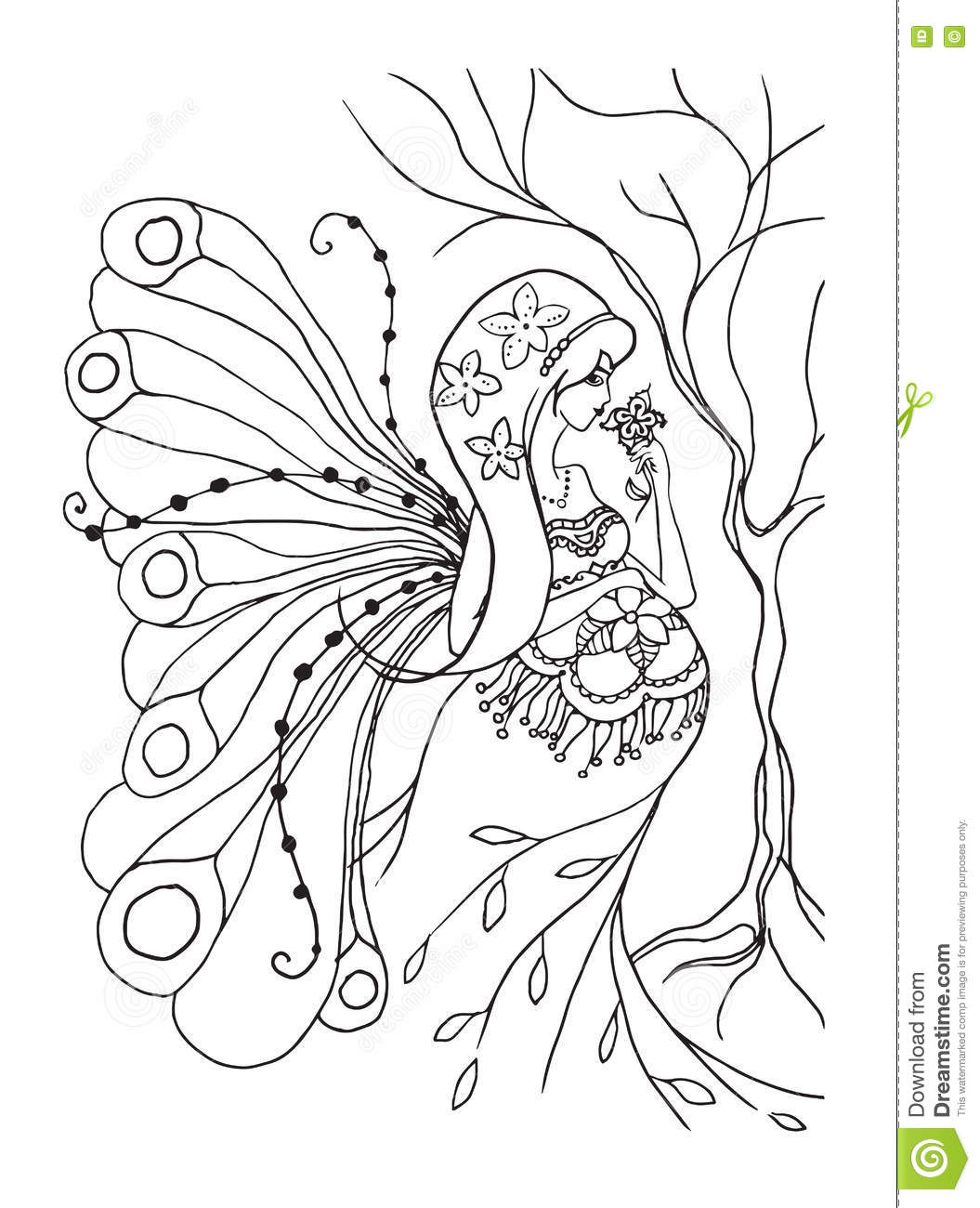Adult Coloring Book Page With Pregnant Lady.Pregnancy In Doodle ...