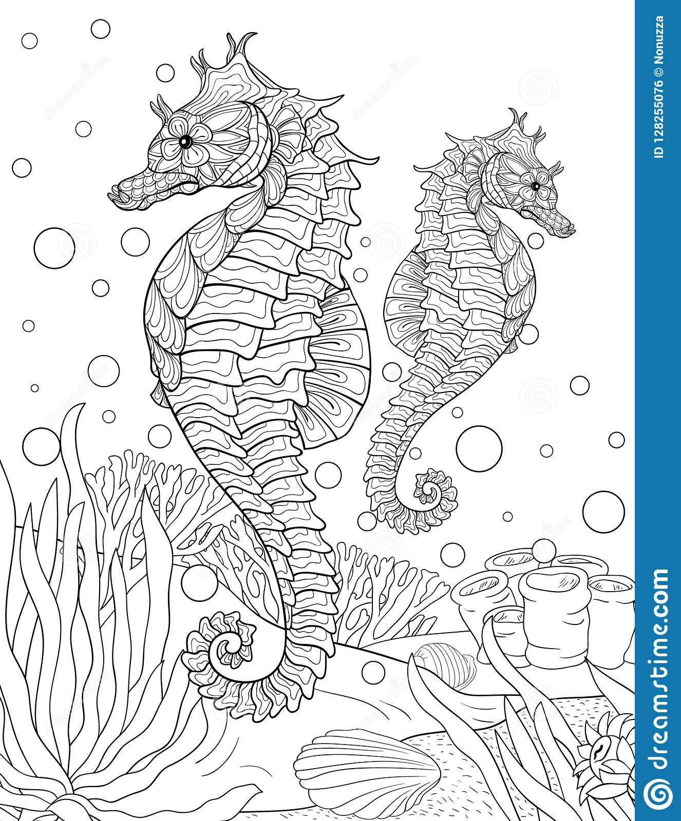 Adult Coloring Book,page Two Sea Horses For Relaxing.Zen Art Style ...