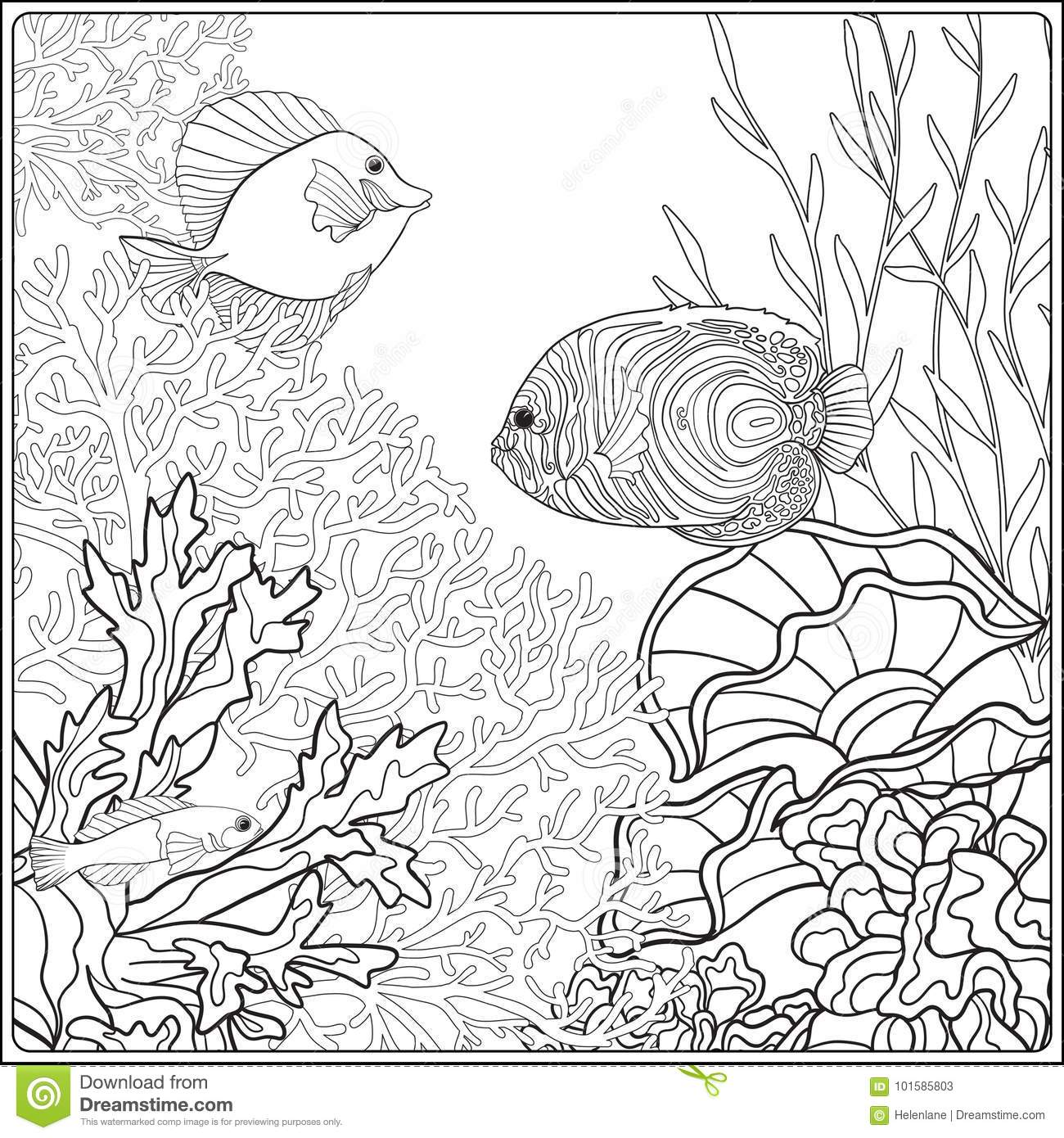 Free Coral Reef Coloring Pages, Download Free Clip Art, Free Clip ... | 1390x1300