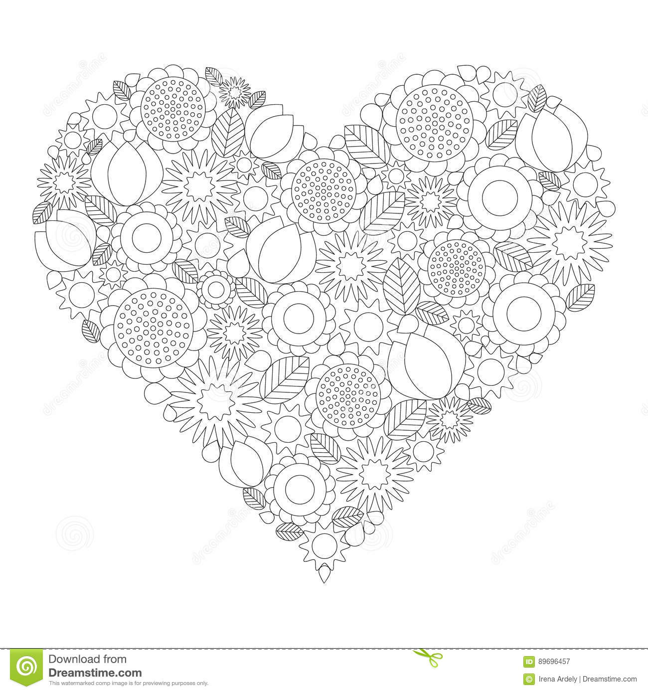 Adult coloring book page vector black and white contour picture adult coloring book page vector black and white contour picture heart shape with spring mightylinksfo