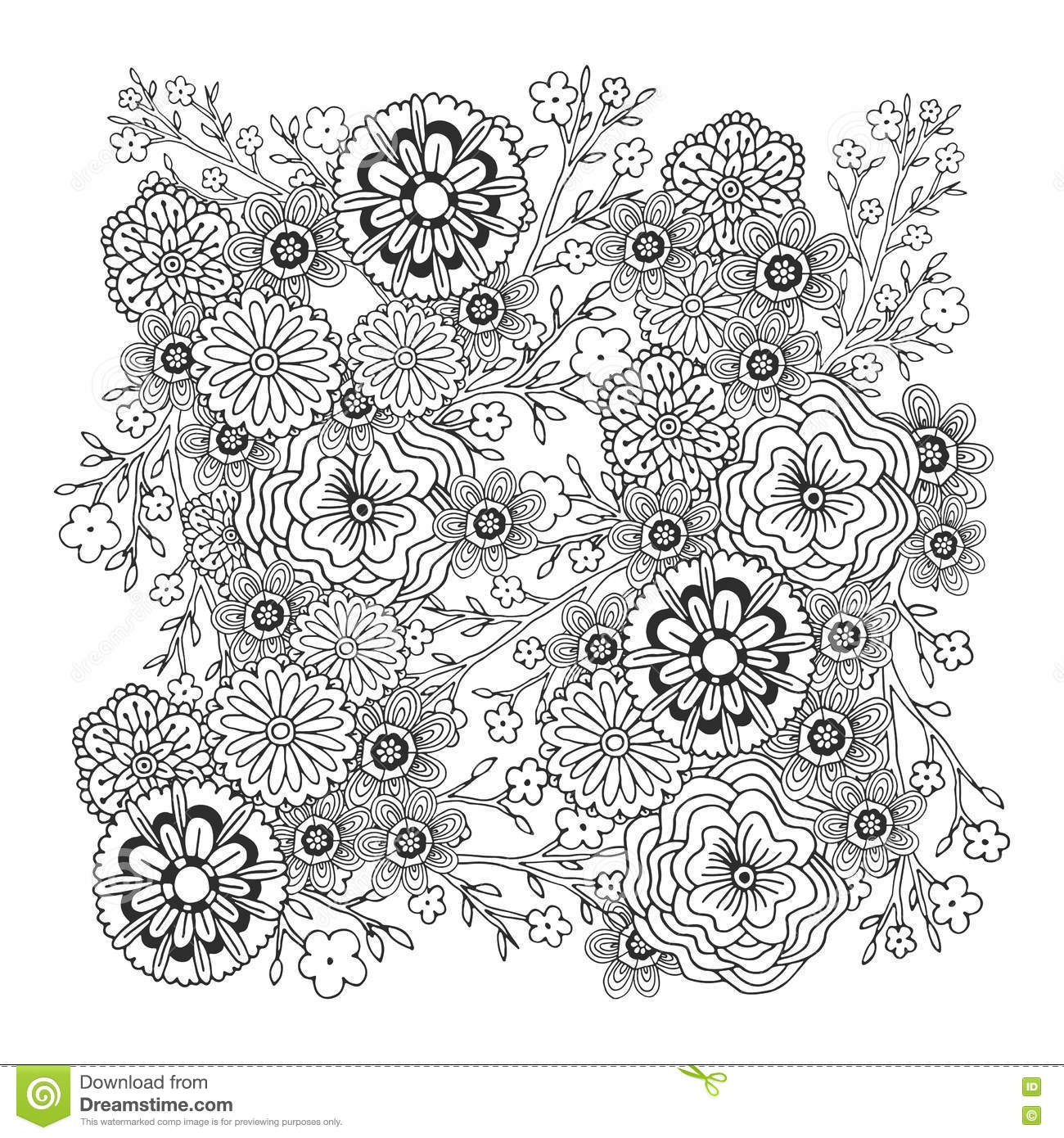 Adult Coloring Book Page Vector Blossom Floral Ornament Vector