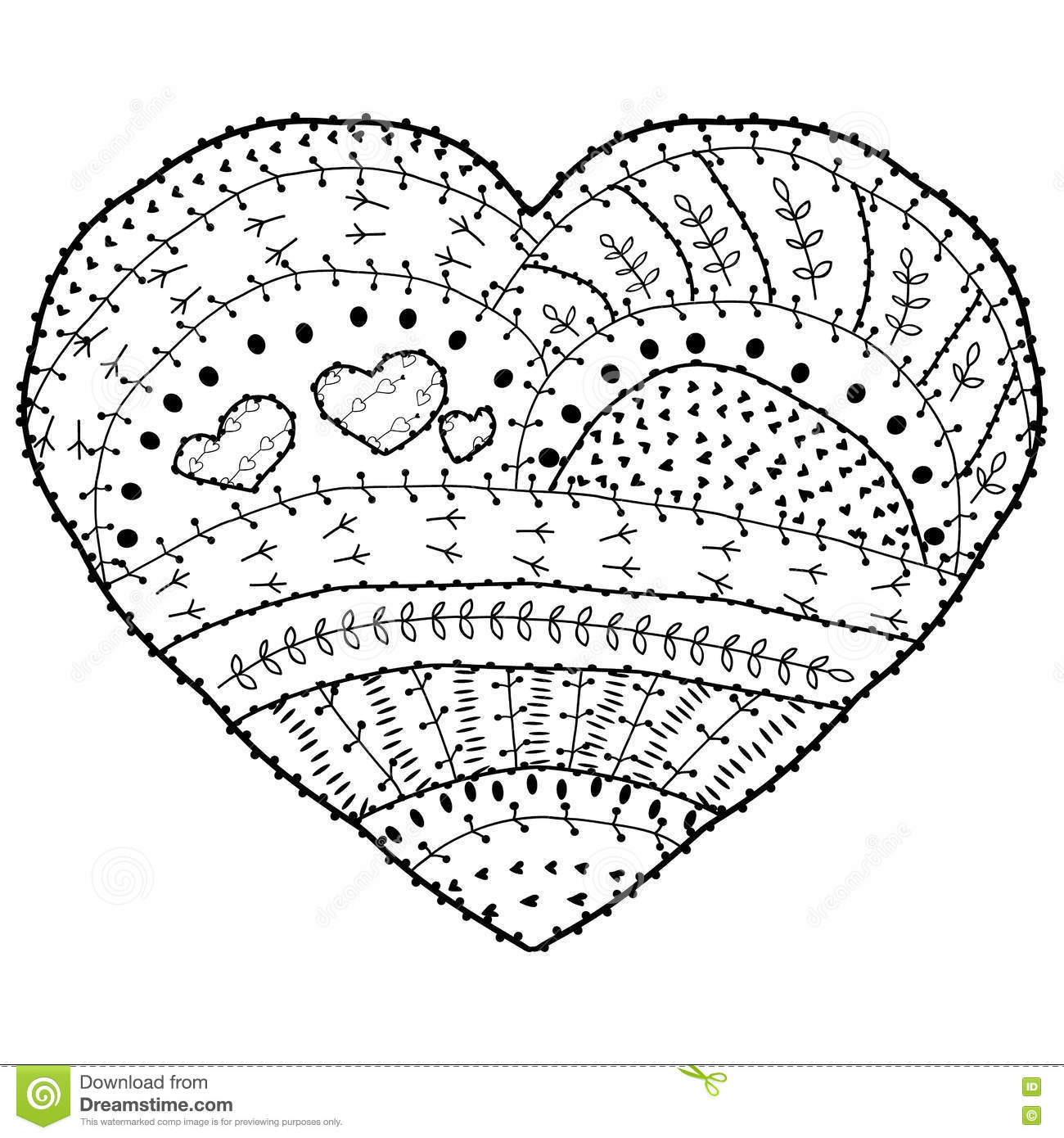 coloring book page vector heart shaped pattern ethnic design