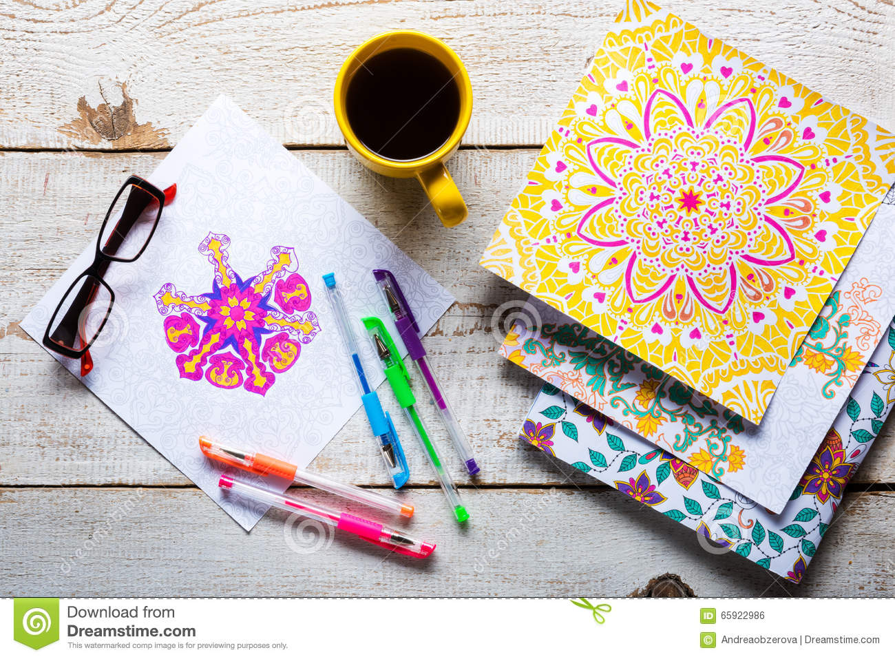 Download Adult Coloring Books New Stress Relieving Trend Stock Photo