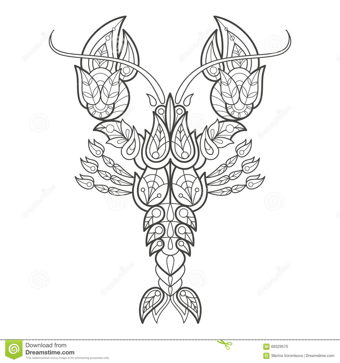 Adult Coloring Lobster Stock Vector Illustration Of Fashion