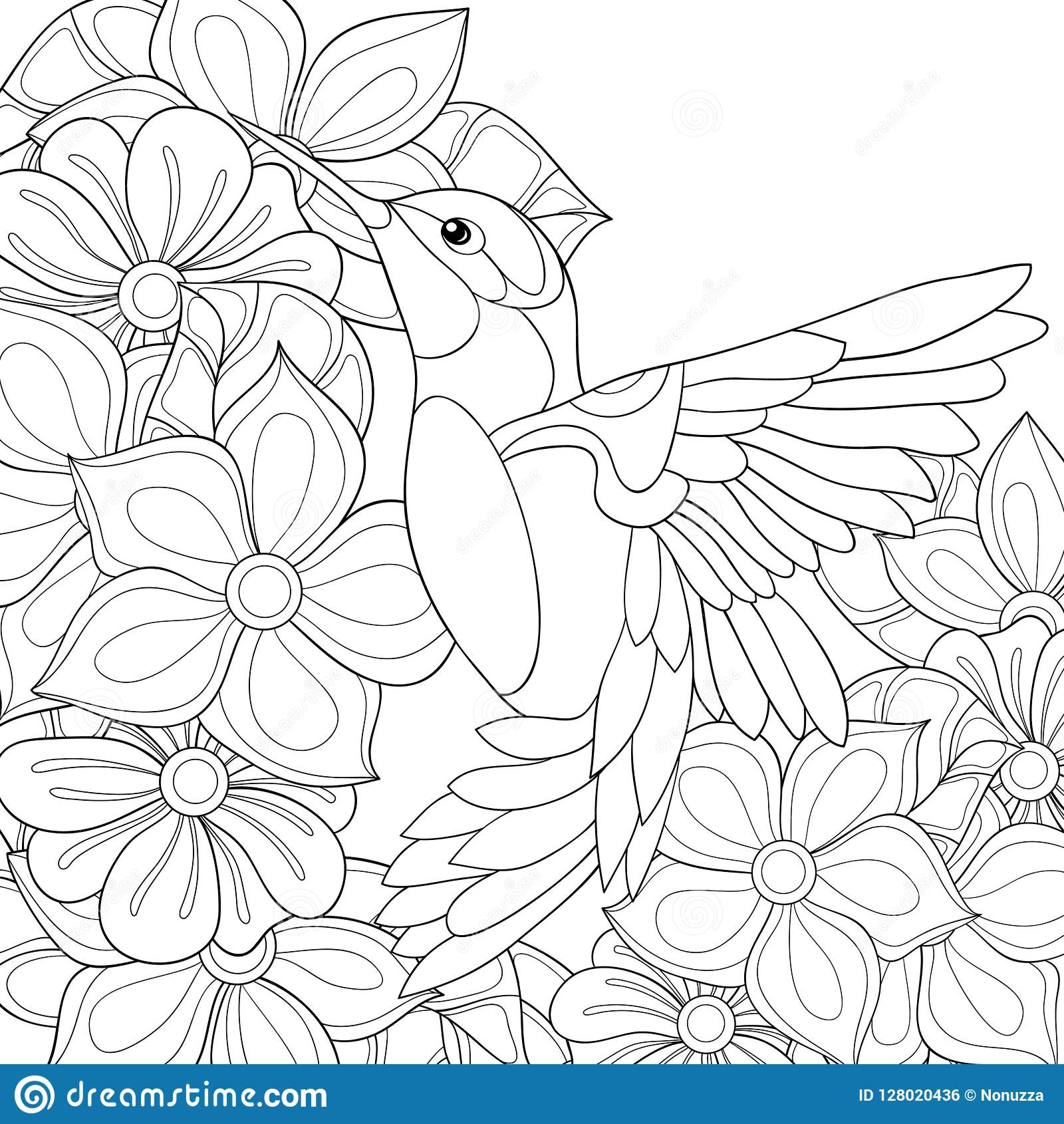 Adult Coloring Page Book A Bird Image For Relaxing Stock Vector Illustration Of Decoration Activity 128020436