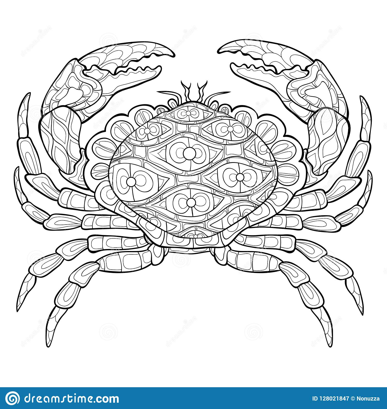 - Adult Coloring Page,book A Crab Image For Relaxing. Stock Vector -  Illustration Of Concept, Floral: 128021847