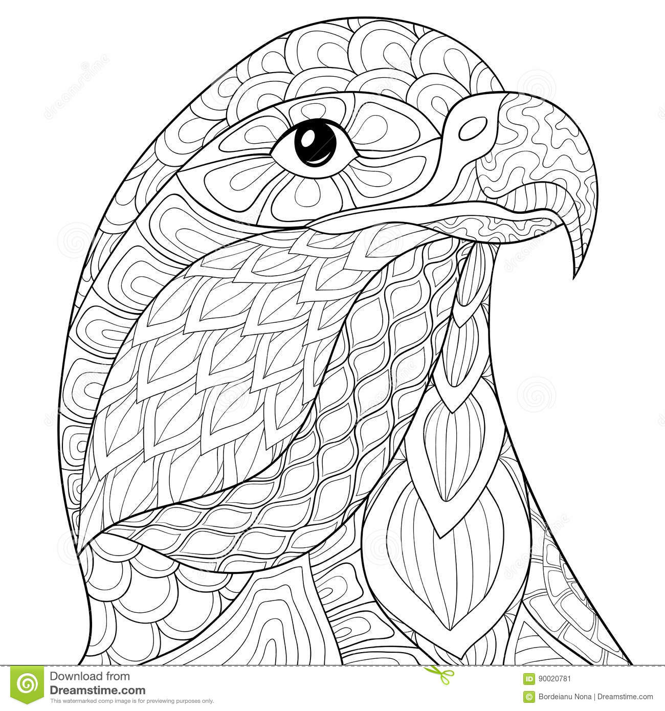 Adult coloring page eagle stock vector. Illustration of flower ...