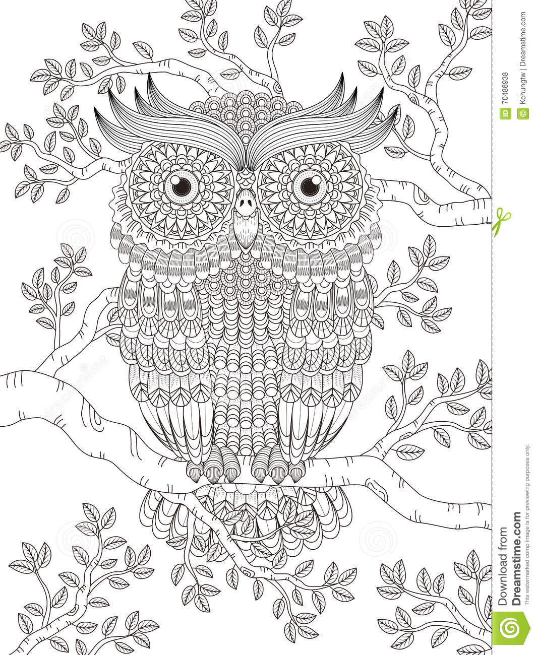 Adult coloring page with gorgeous owl stock illustration image