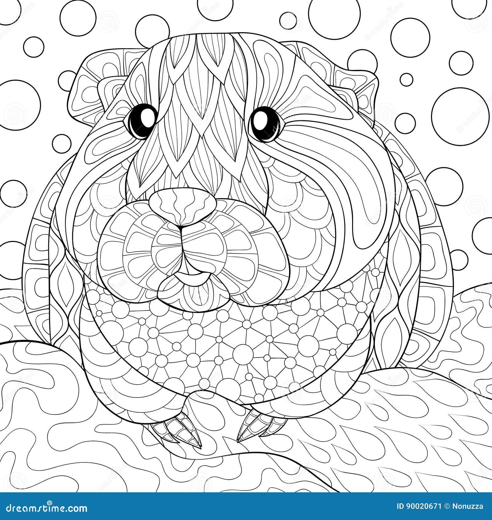 Geinea pig coloring pages mandala geinea best free for Free guinea pig coloring pages