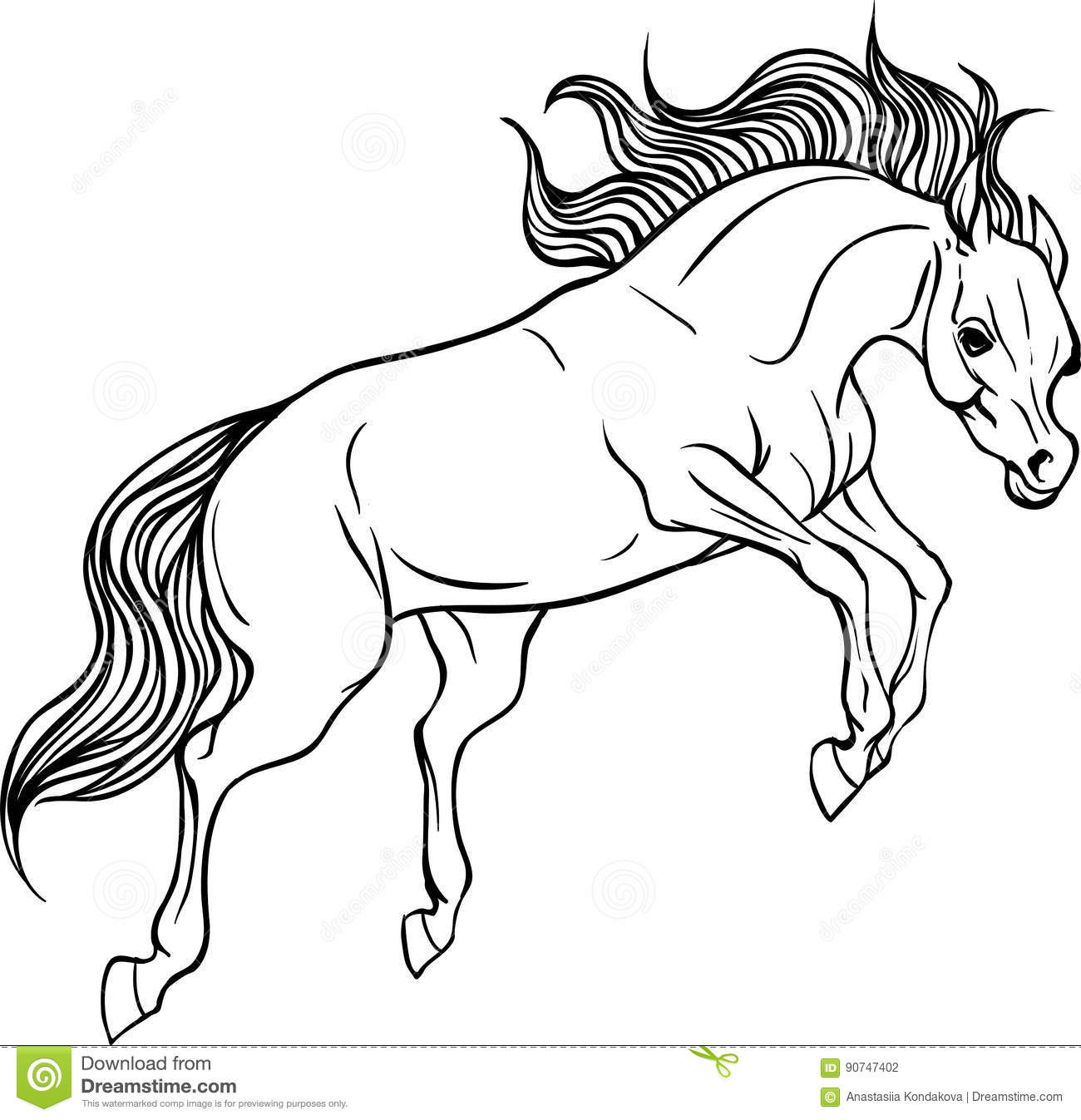 Adult Coloring Page Horse Stock Vector Illustration Of Background