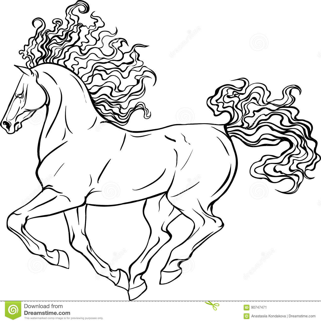 Download Adult Coloring Page Horse Stock Vector Illustration Of Mare