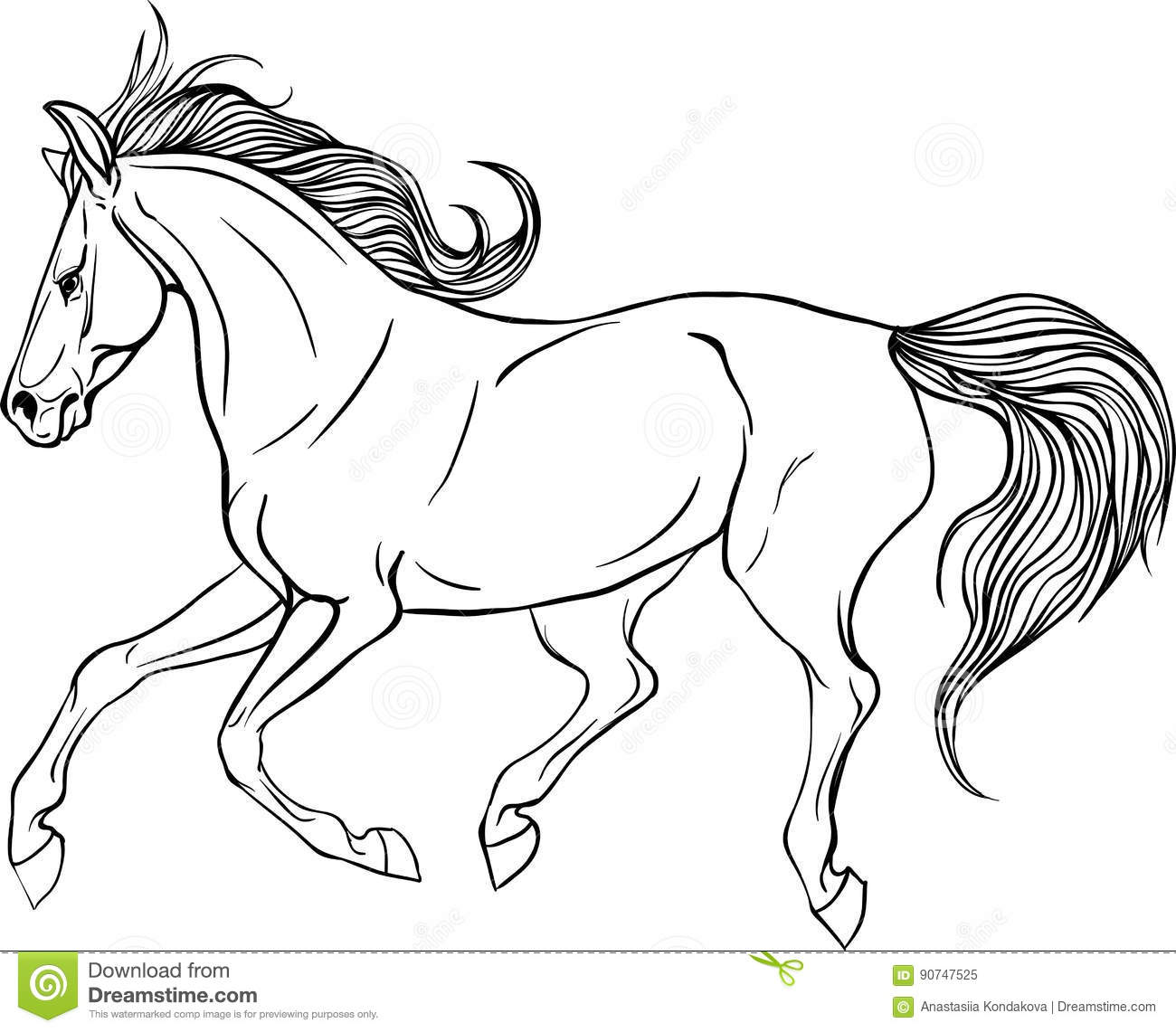 Adult coloring page horse. stock vector. Illustration of nature ...