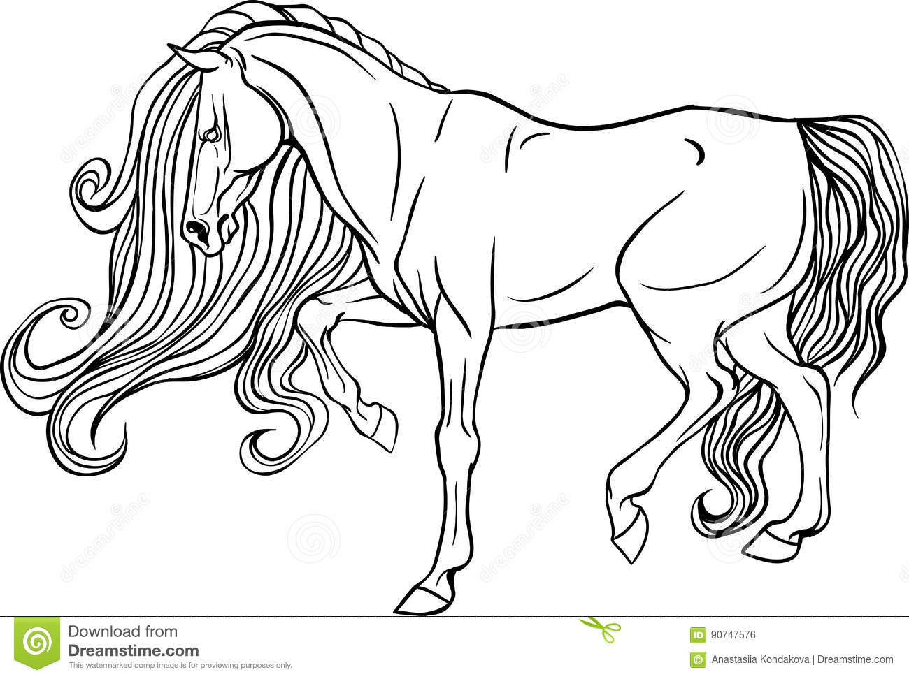 Adult Coloring Page Horse. Stock Vector. Illustration Of