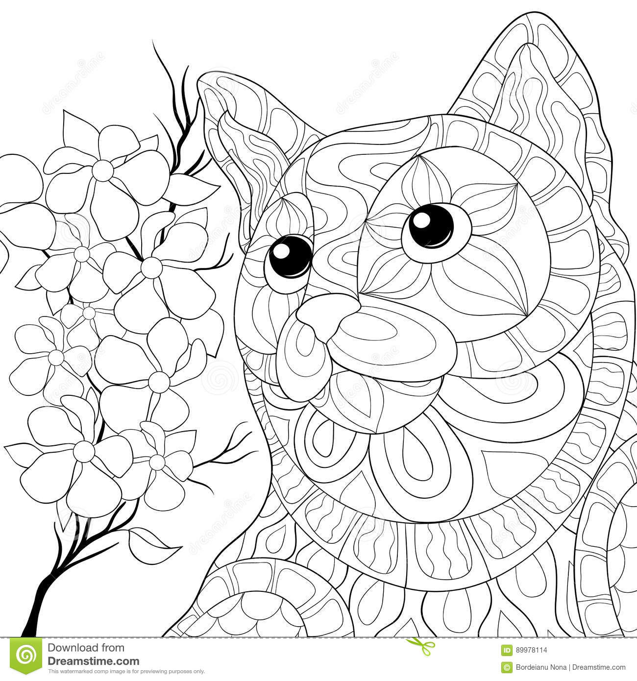 Download Adult Coloring Page Horse Stock Vector Illustration Of Flower