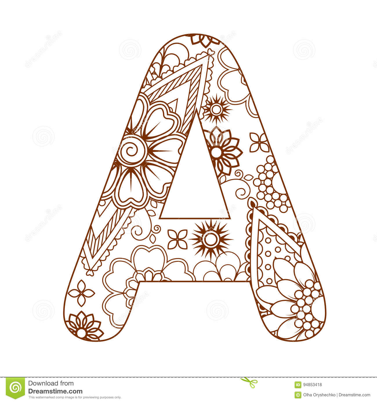 Adult Coloring Page With A Letter A Of The Alphabet Ornamental Font