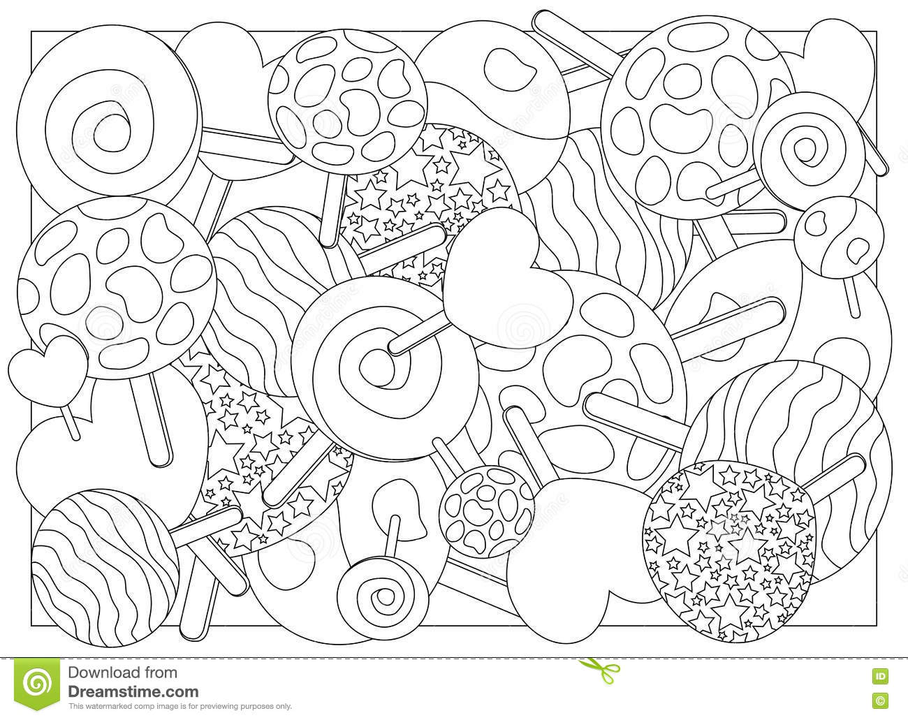 Adult Coloring Page Lollipop Candy Illustration Stock Illustration