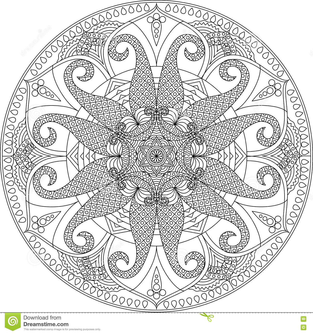 Adult Coloring Page Mandala Stock Vector