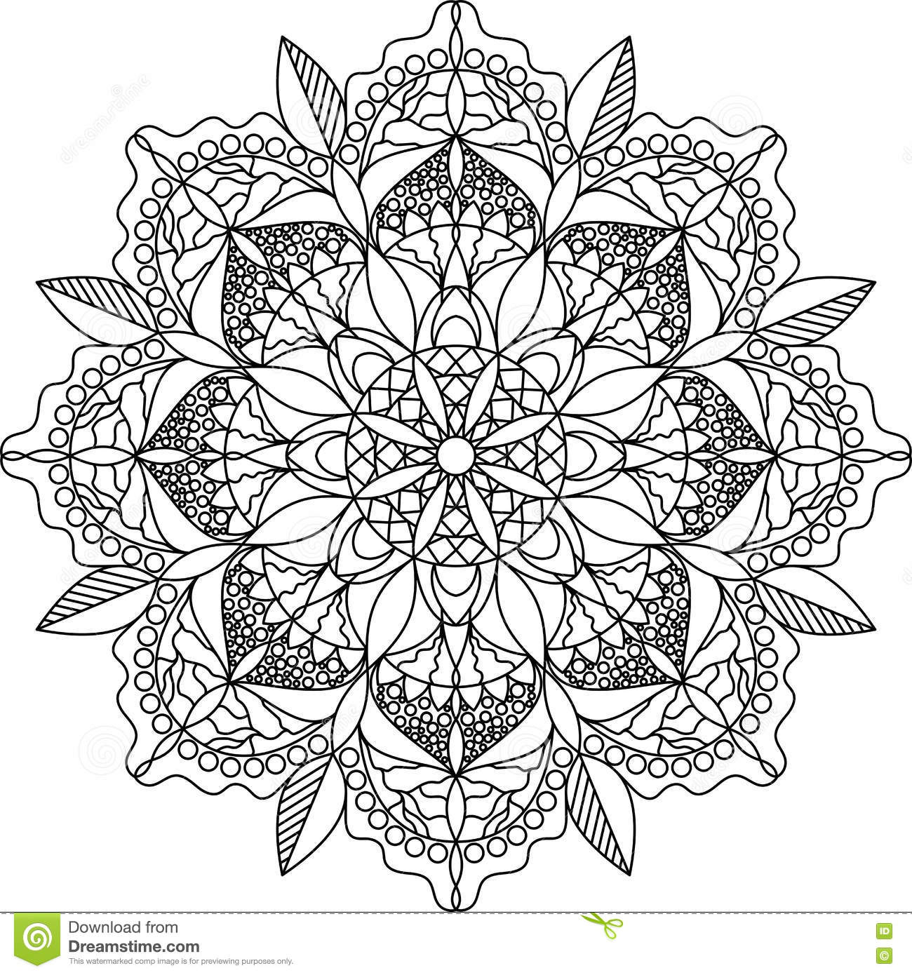 Adult Coloring Page Mandala Stock Vector Illustration Of Mandala