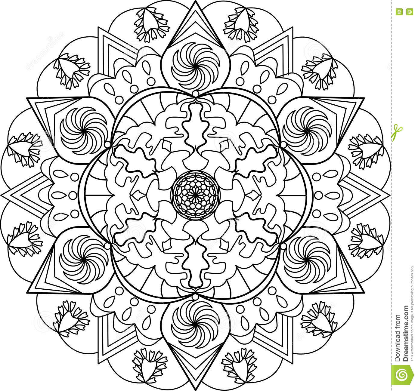 Adult Coloring Page Mandala Stock Vector Illustration Of Design