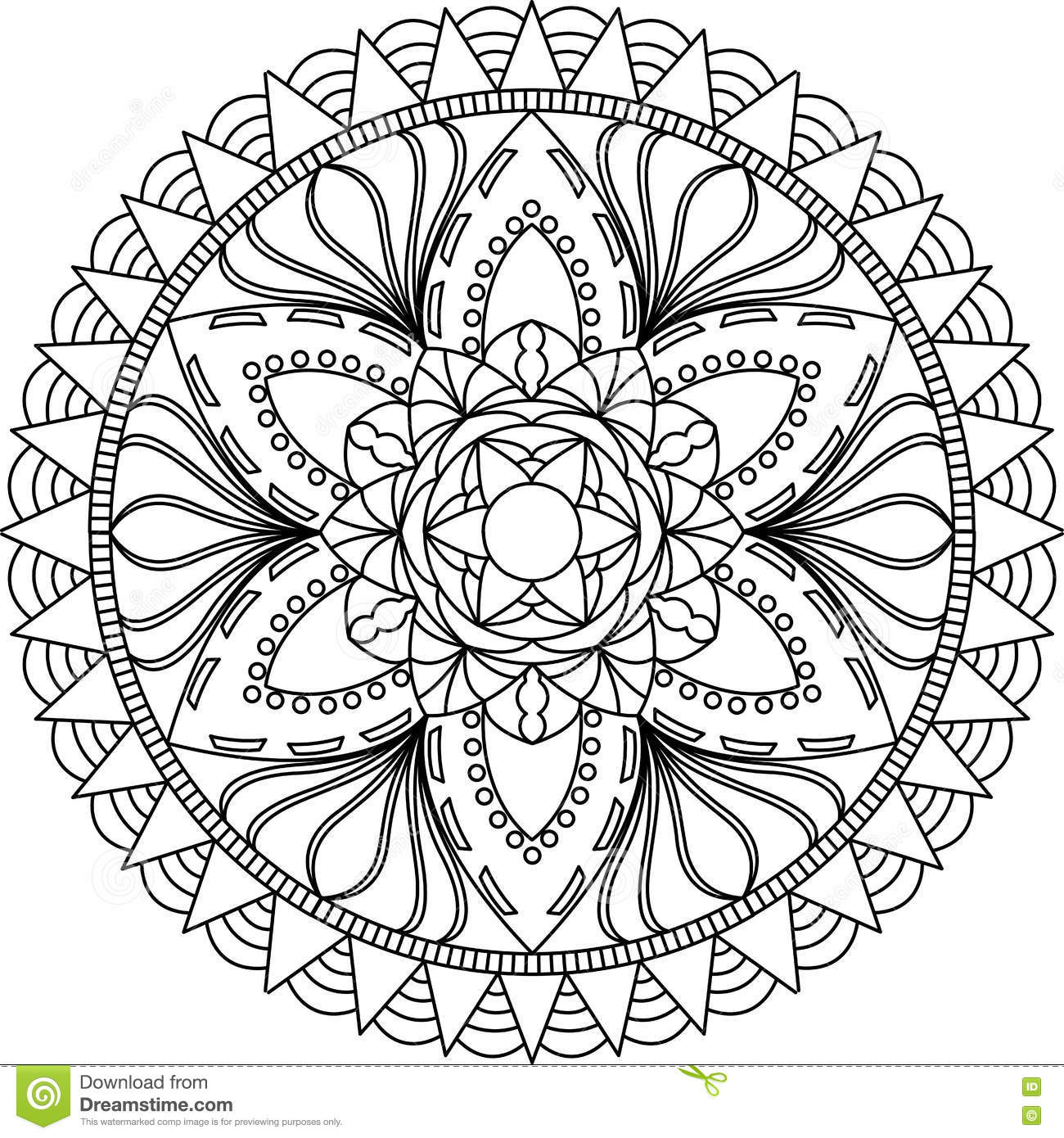 Adult Coloring Page, Mandala. Stock Vector - Illustration of ...