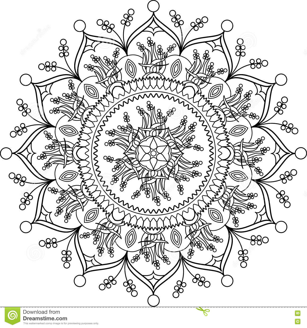 Adult Coloring Page, Mandala With Flowers. Stock Vector ...