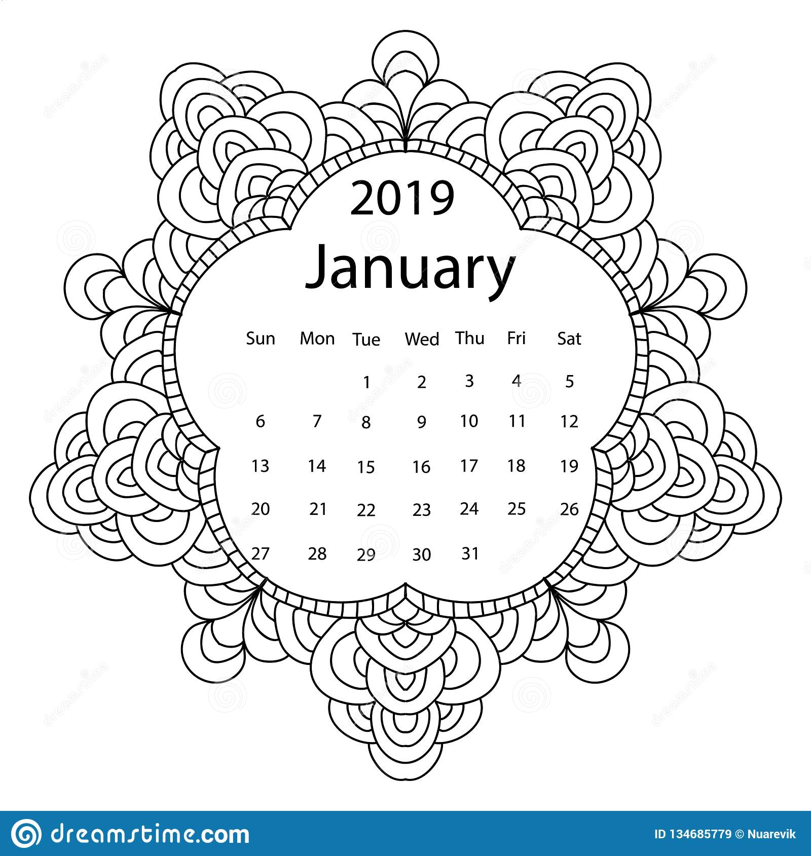 Coloring Page calendar - free printable coloring pages | 1689x1600