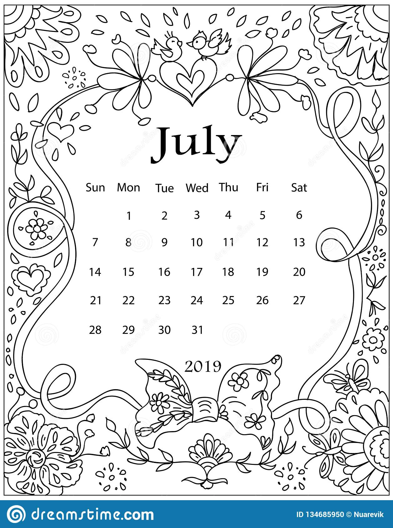 Adult Calendar 2019 Adult Coloring Page With Monthly Calendar Of 2019 Year Isolated On