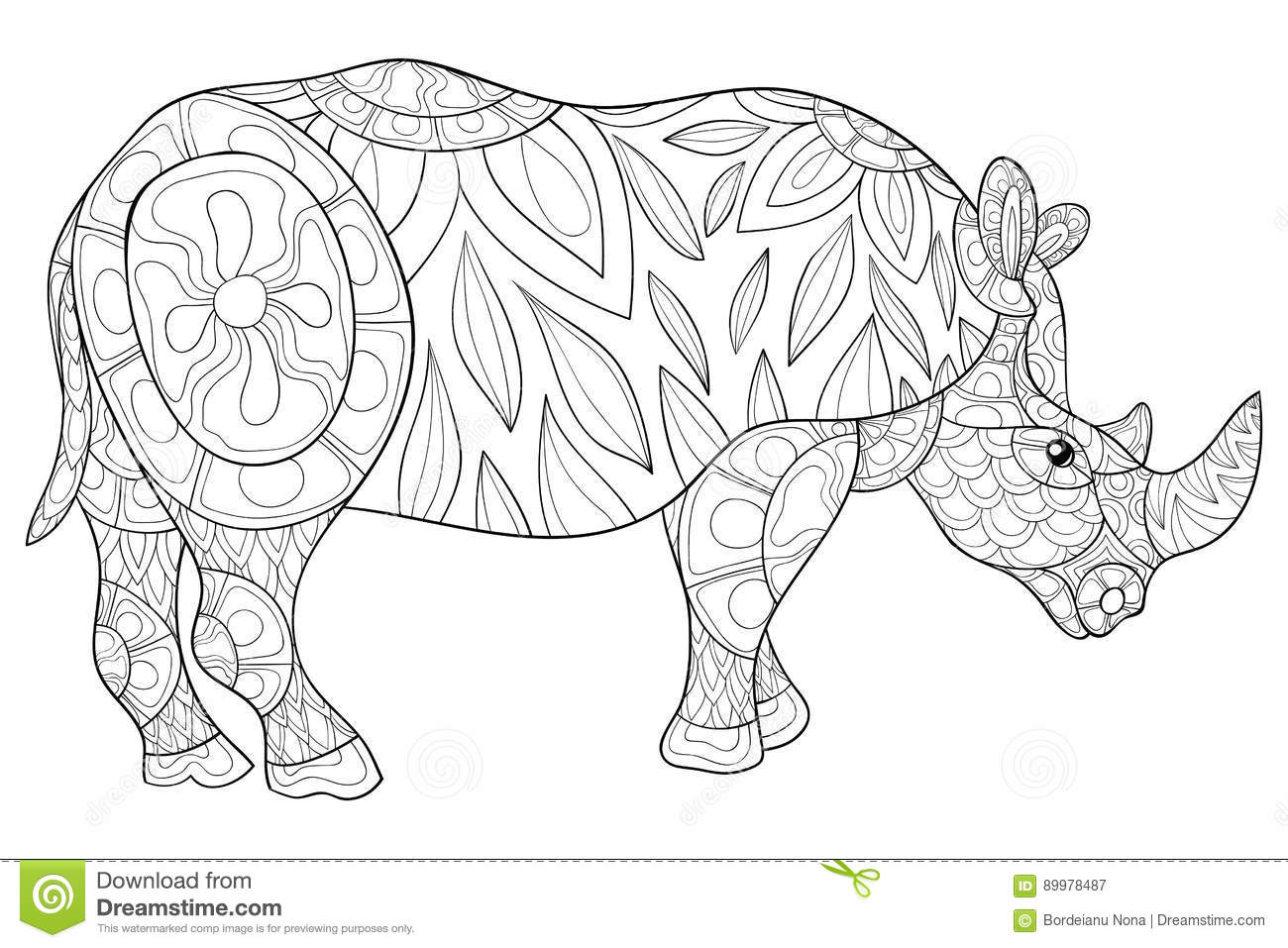 Printable coloring sheet with funny rhino | 957x1300