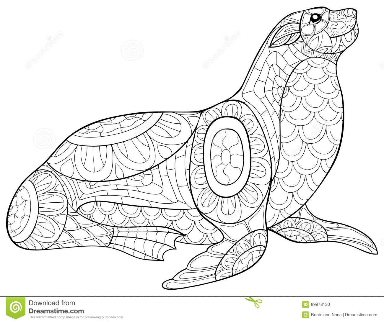 Adult coloring page seal. stock vector. Illustration of design ...