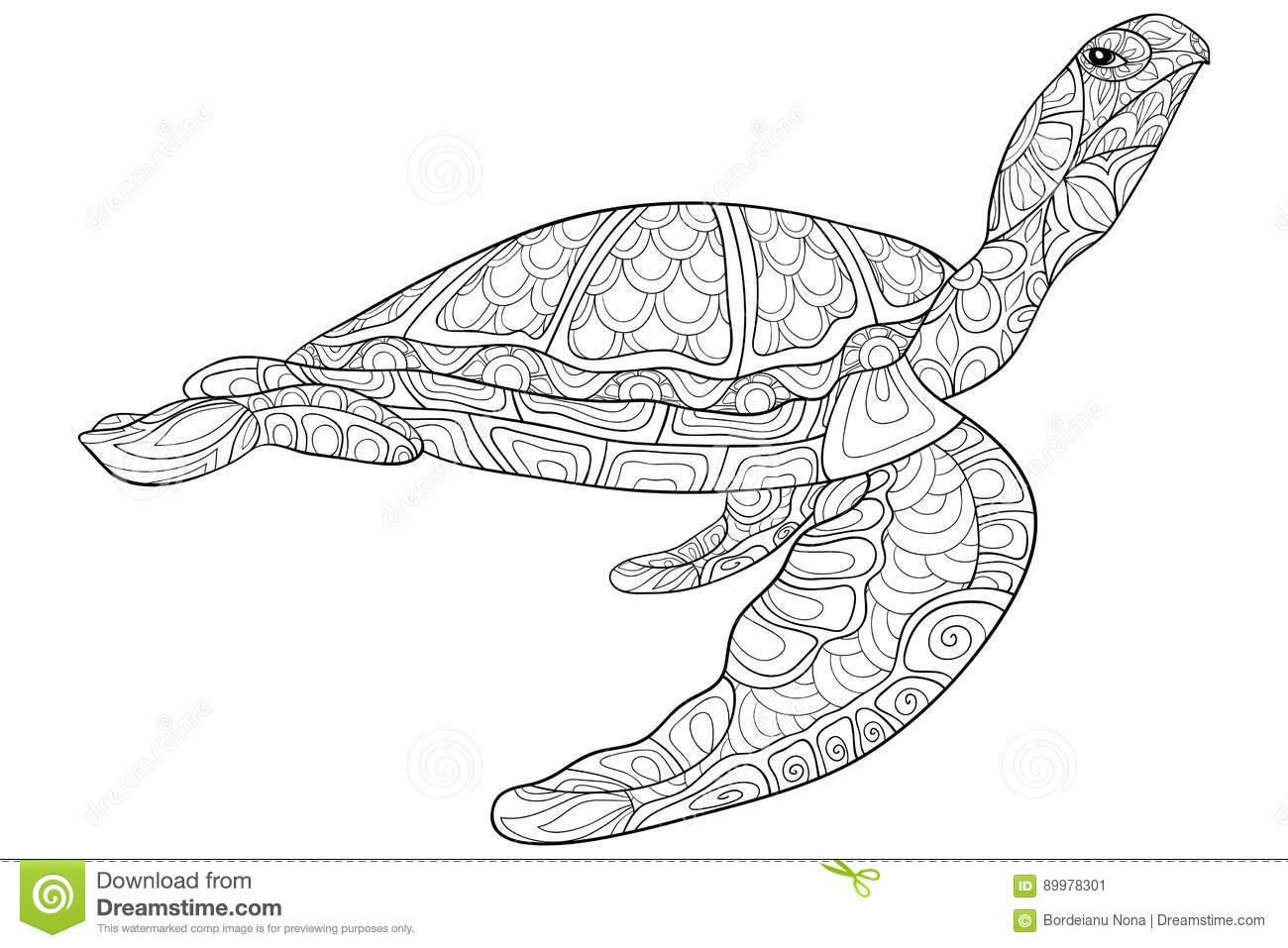 Adult Coloring Page Turtle Stock Vector - Illustration of ethnic ...